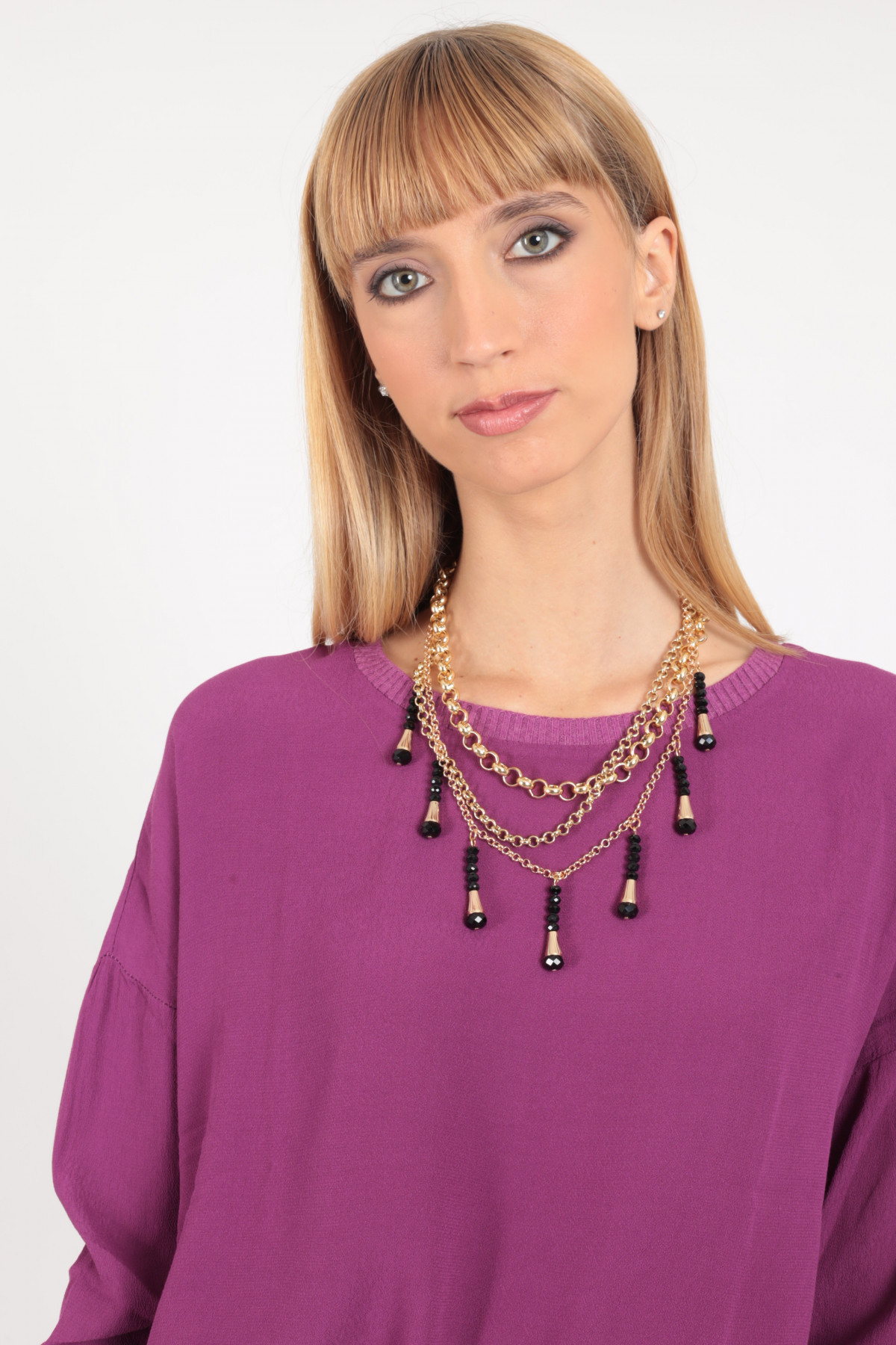 Triple Strand Necklace with Pendants