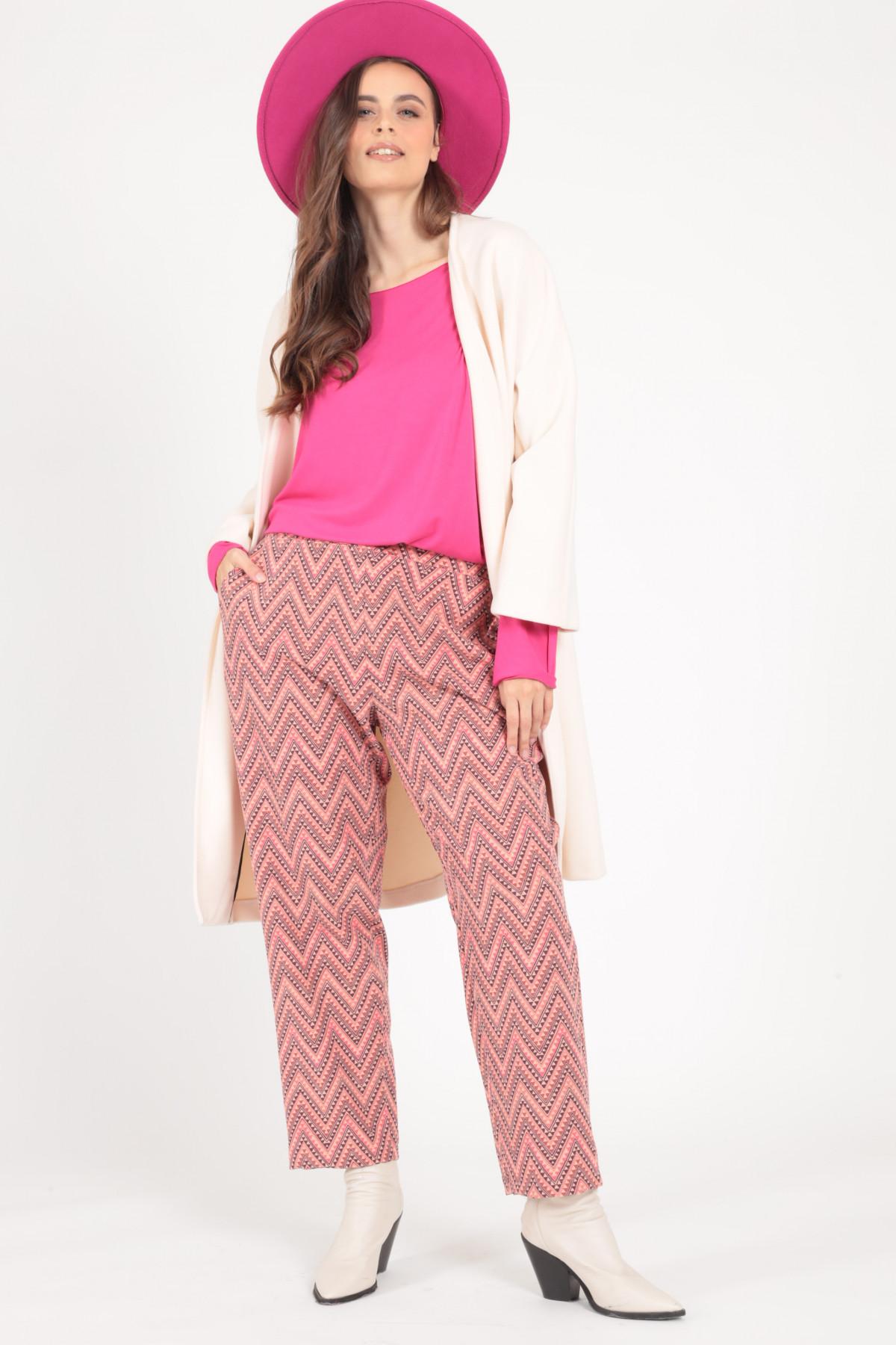 High Waist Trousers in Multicolor Herringbone Pattern