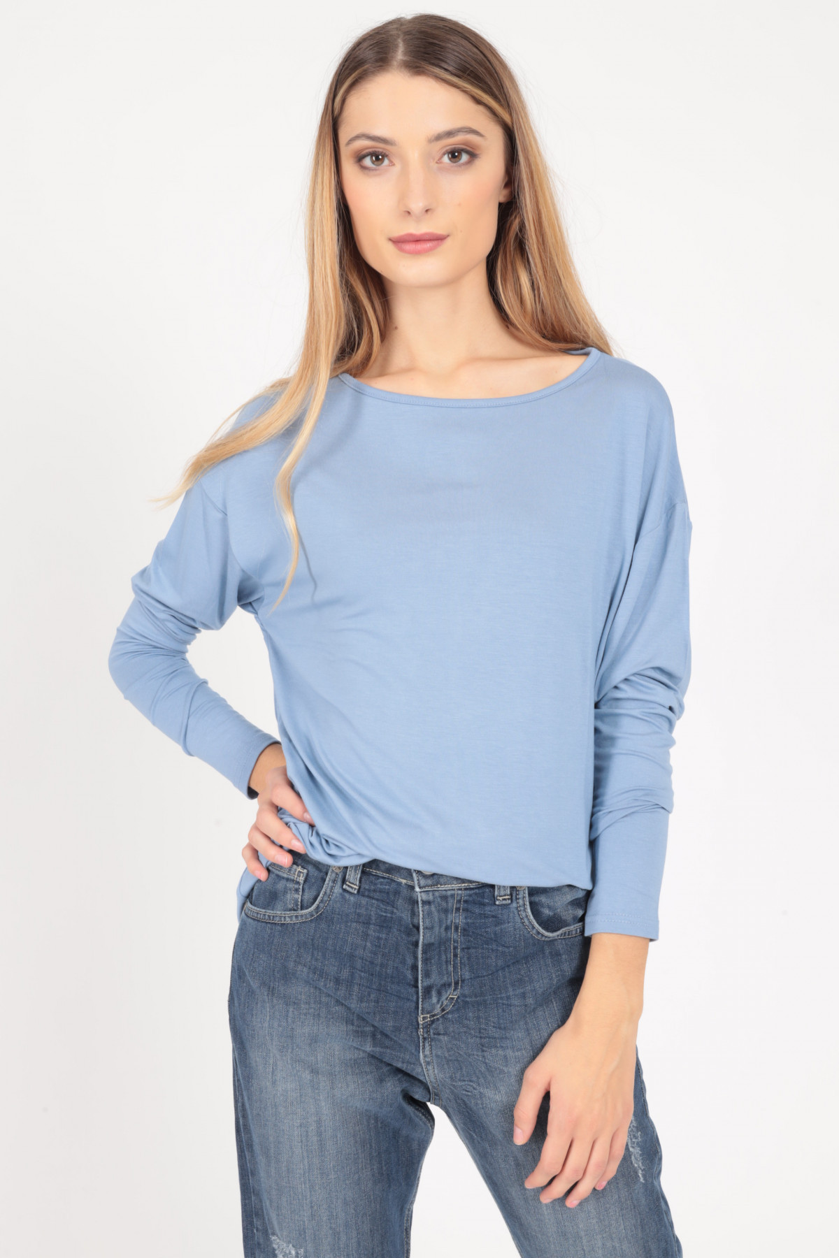 Long Sleeve Over T-Shirt with Boat Neck