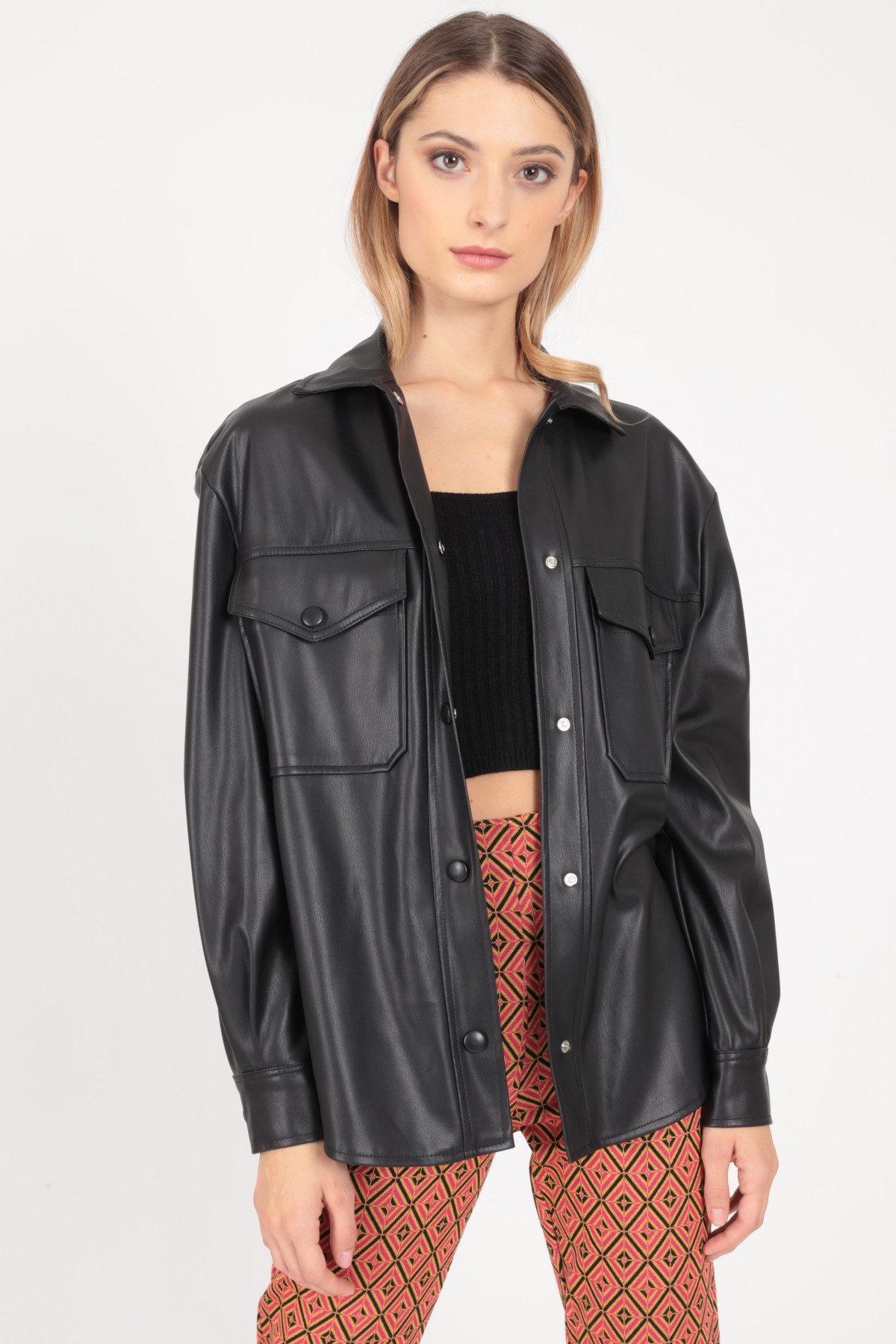 Long Sleeve Over Jacket with Fitted Pockets in Faux Leather