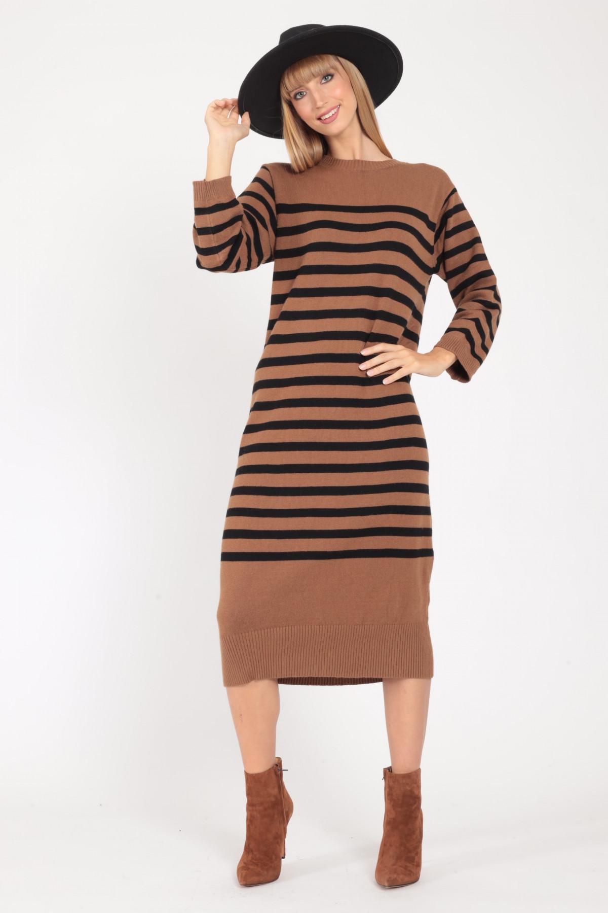 Striped Over Knit Dress