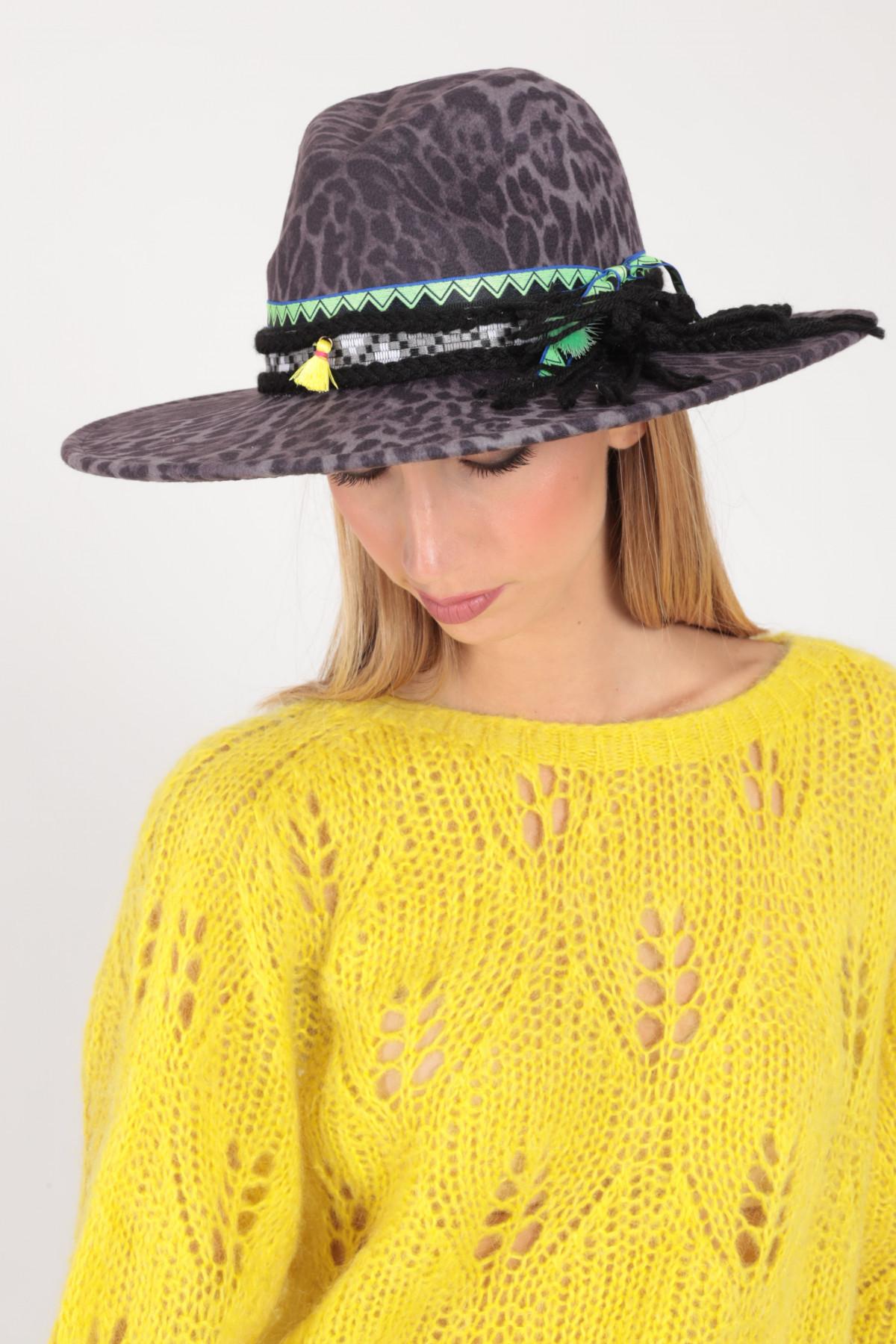 Wide Brim Hat in Animalier Pattern