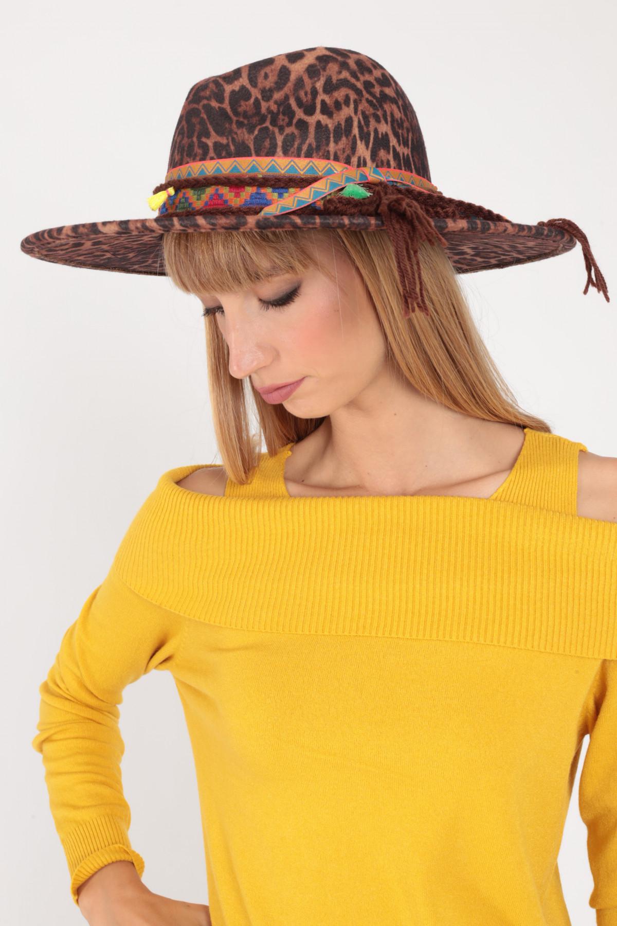 Cappello Tesa Larga in Fantasia Animalier