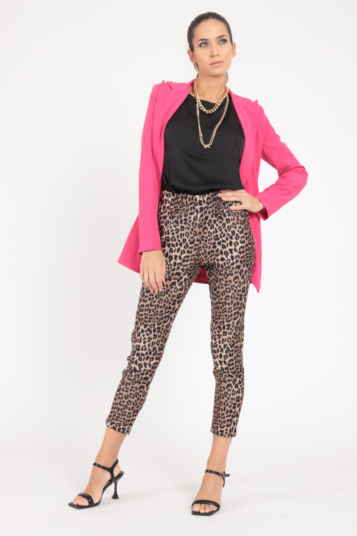 Stretch Pants with Curled Waist in Animalier Print