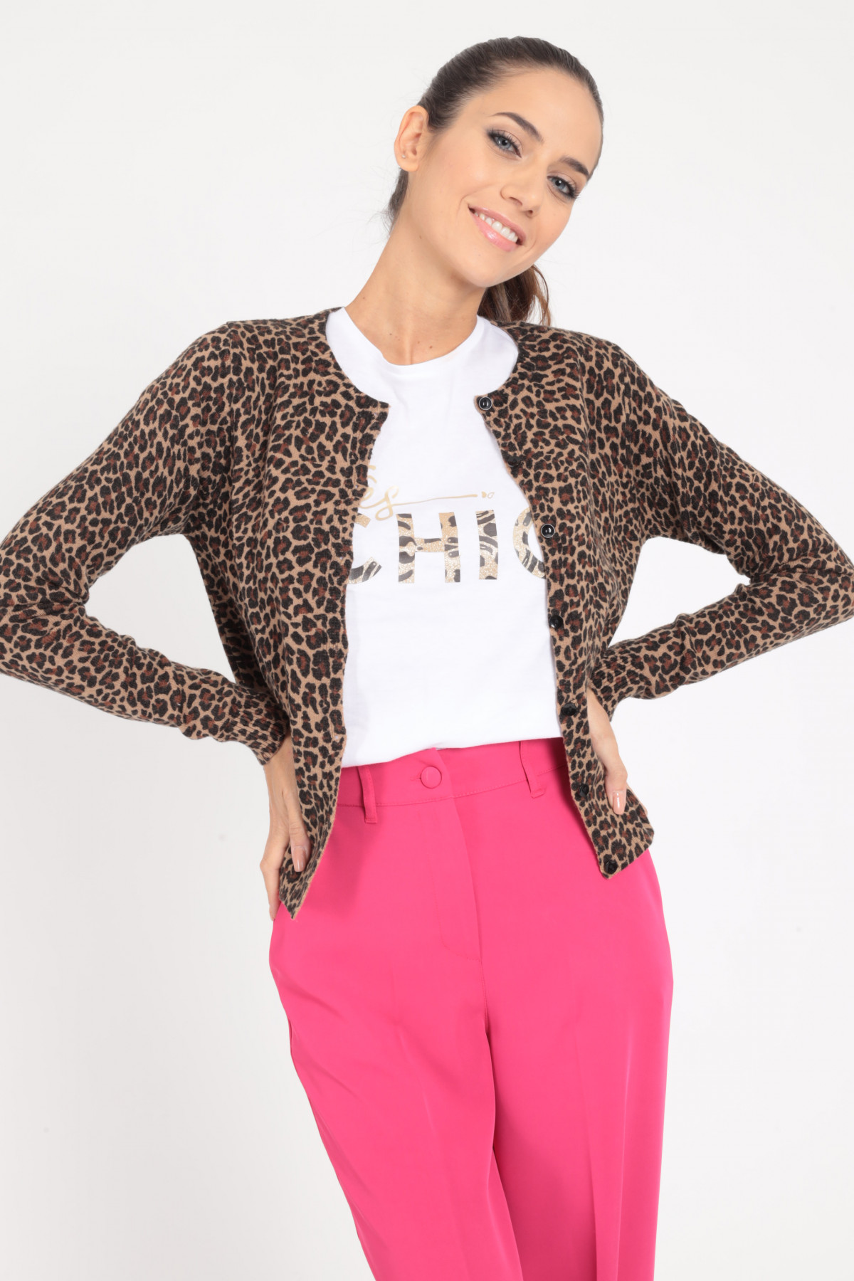 Pullover with Animal Print Buttons