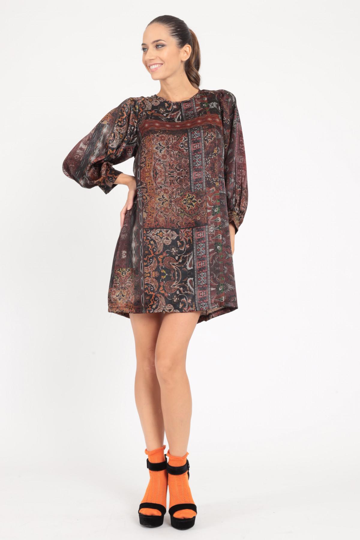 Long Sleeve Dress in Patchwork Pattern