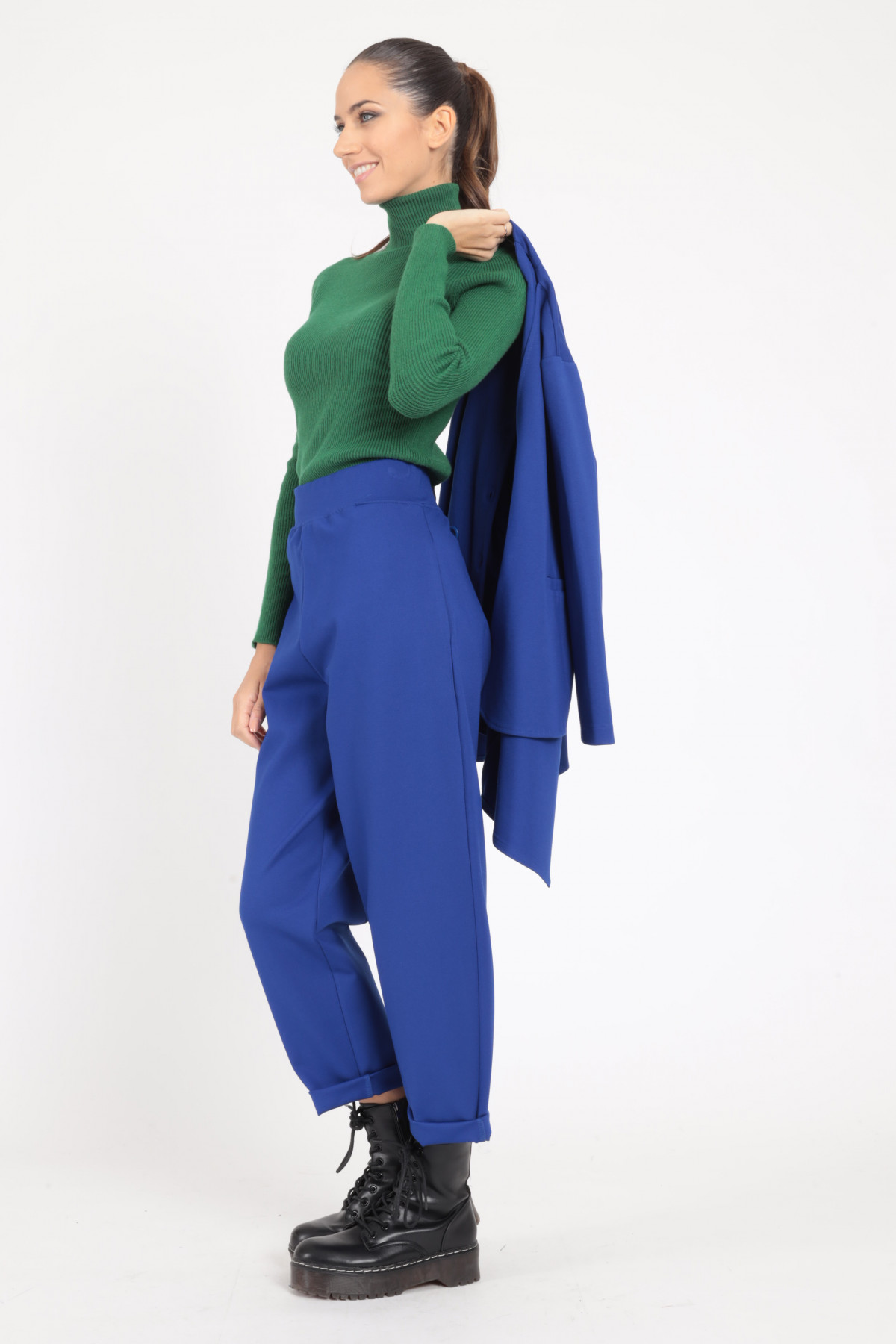 High Waisted Trousers in Milano Stitch with Turn-up