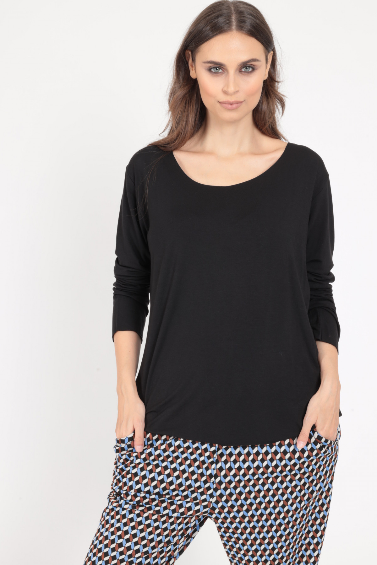 Long Sleeve Over T-Shirt with Round Neckline
