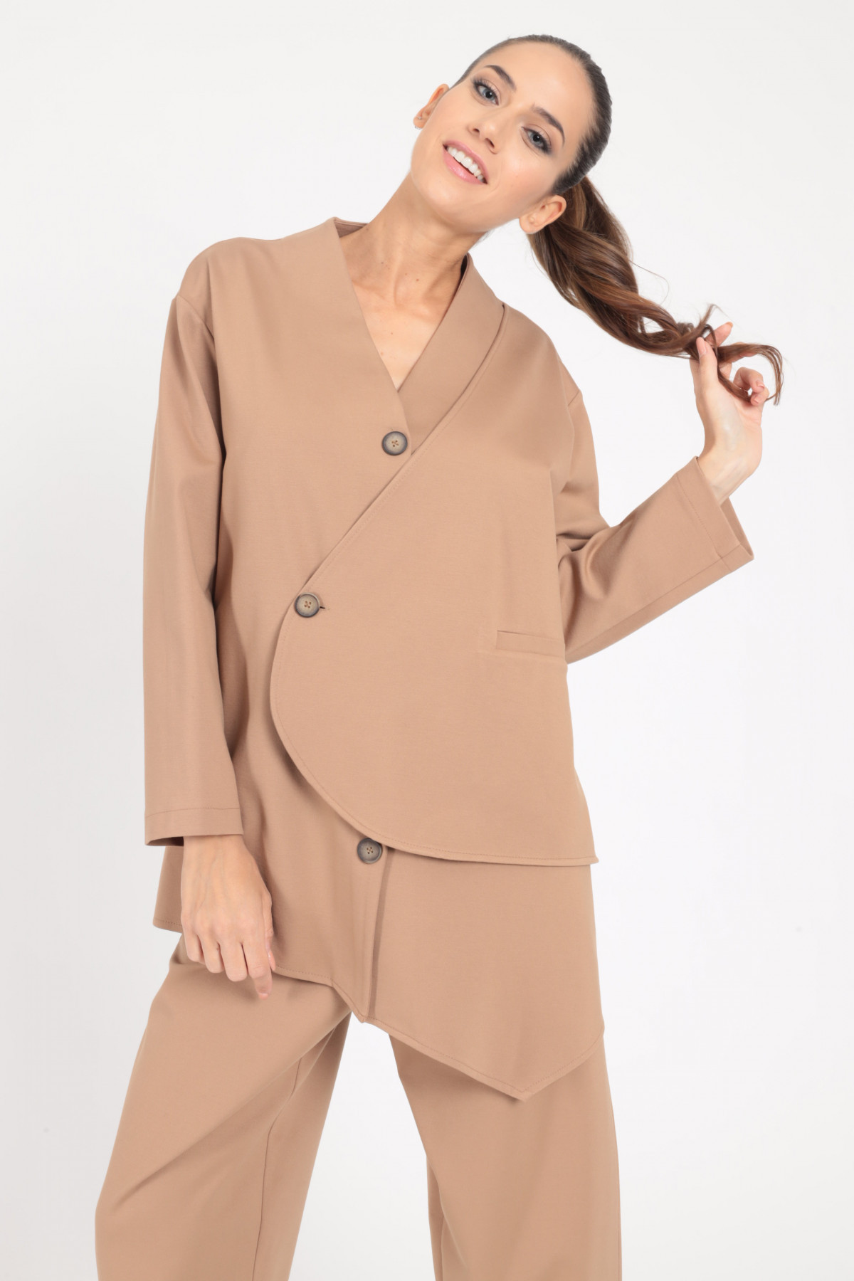 Milano stitch jacket without lapels with wallet closure