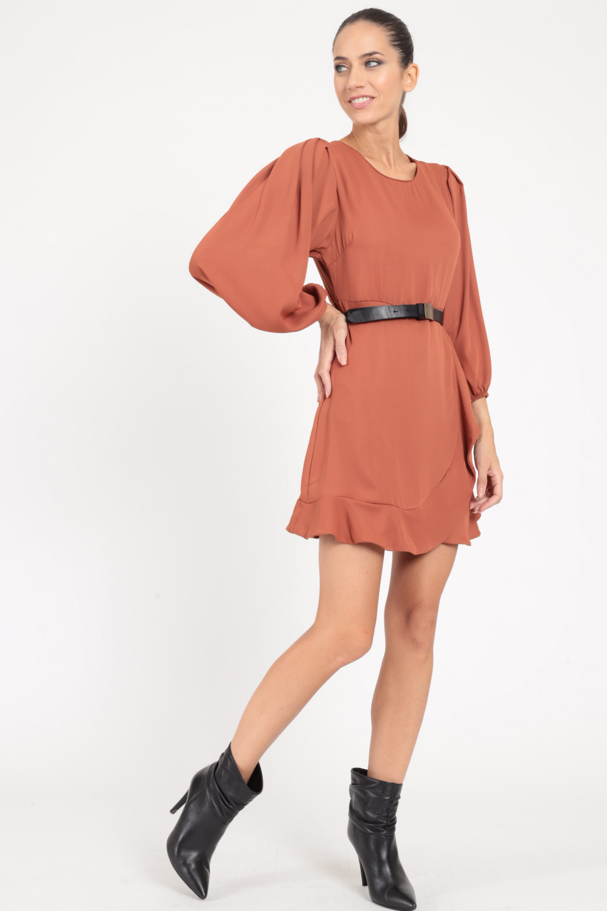 Dress with Balloon Sleeves and Rouches