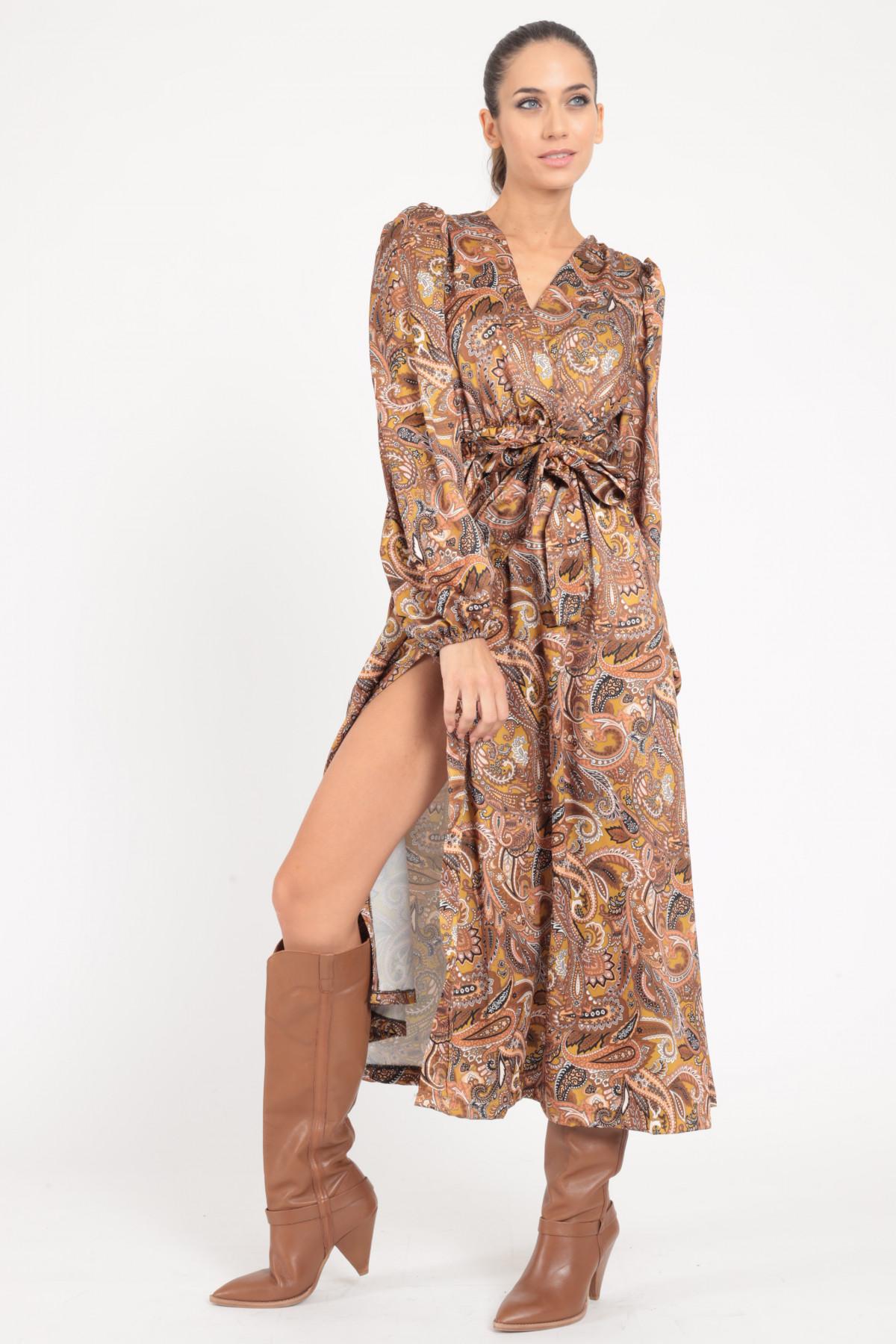 Long Sleeve Cross Neckline Dress with Matching Belt