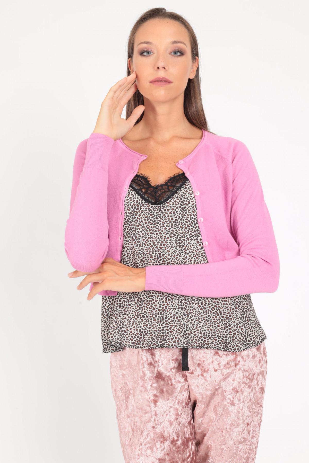 Long Sleeve Buttoned Crop Cardigan