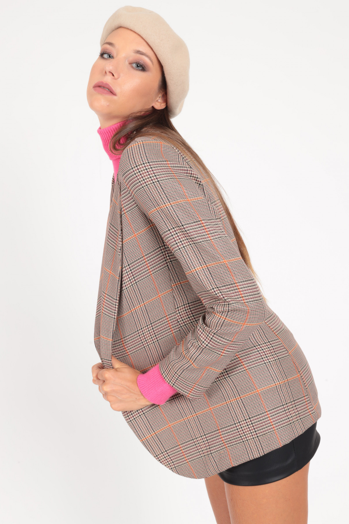 Jacket with Classic Revers in Prince of Wales