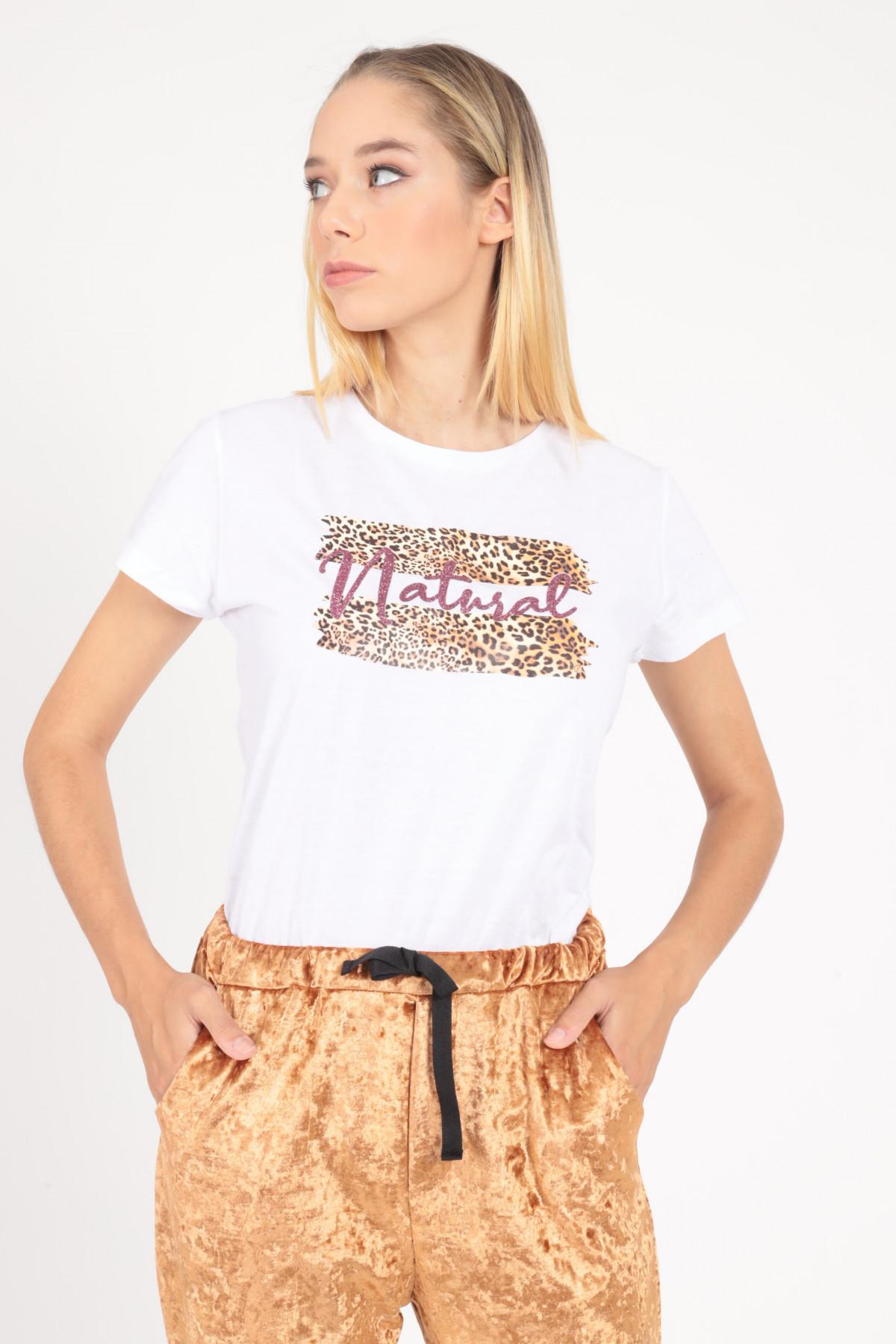"T-shirt ""Natural"" in Stampa Fantasia Animalier"