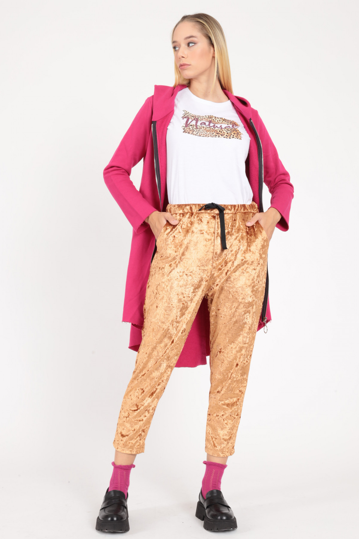 Chenille Effect Drawstring Trousers