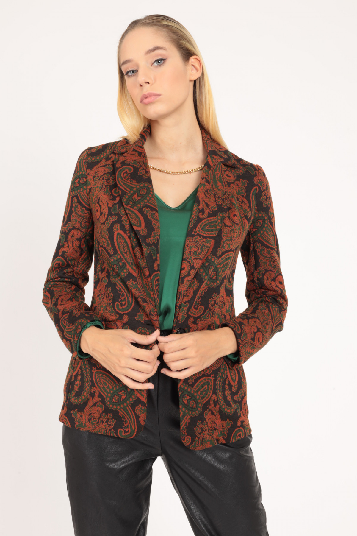 Classic Revers Jacket in Cashmere Fantasy Print