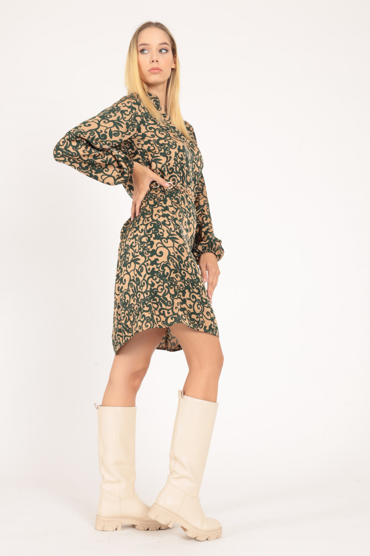 Long V-Neck Dress with Balloon Sleeve in Floral Fantasy Print