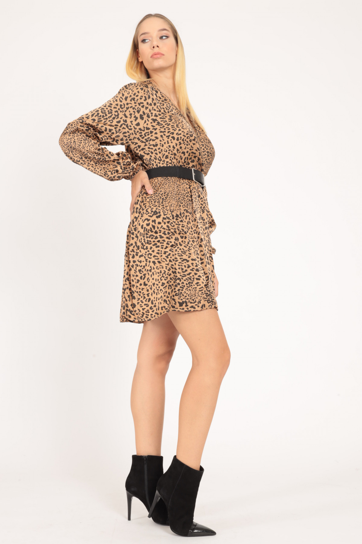 Cross Neck Dress with Fringes in Animal Fantasy Print