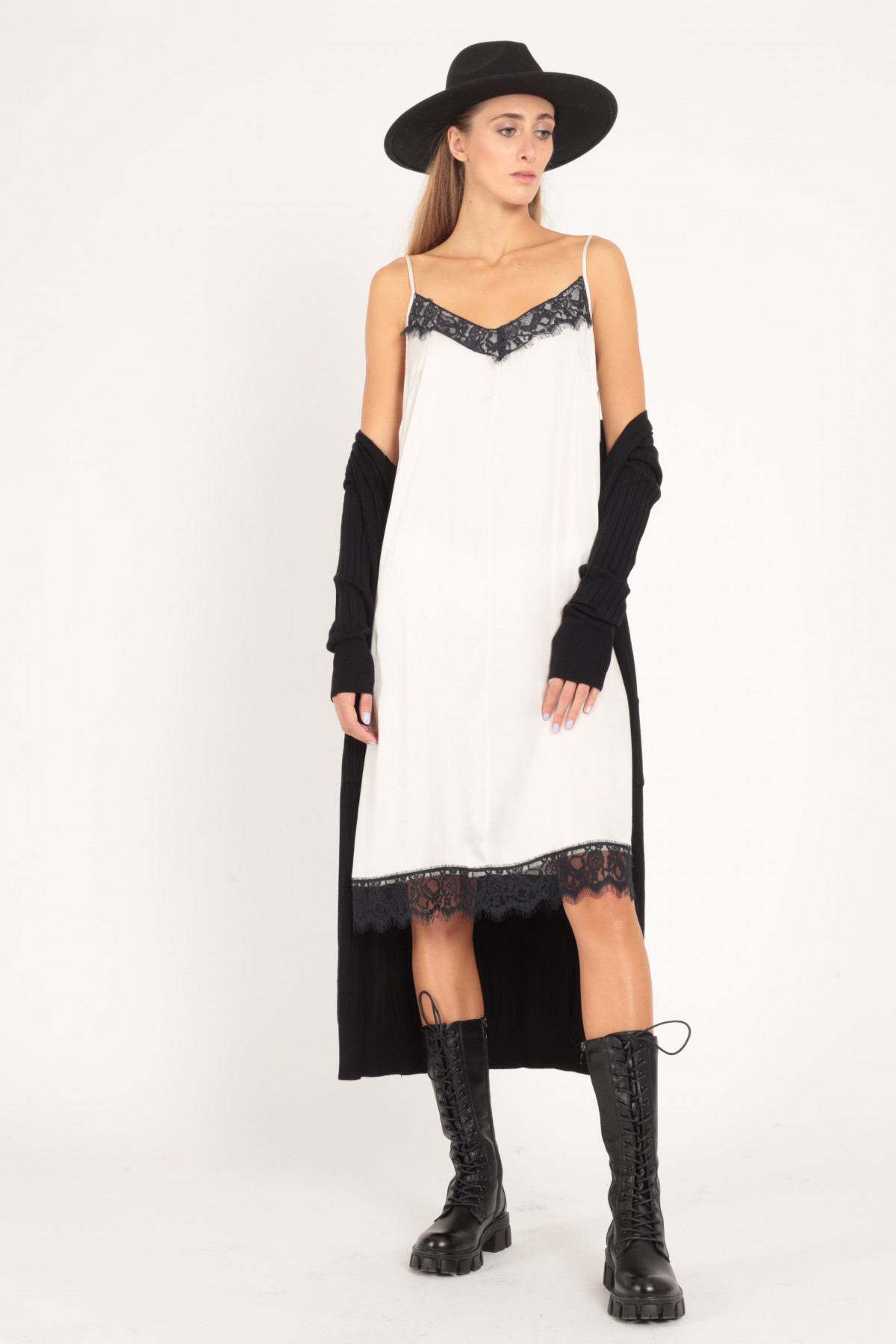 Slip Dress with Thin Straps and Lace