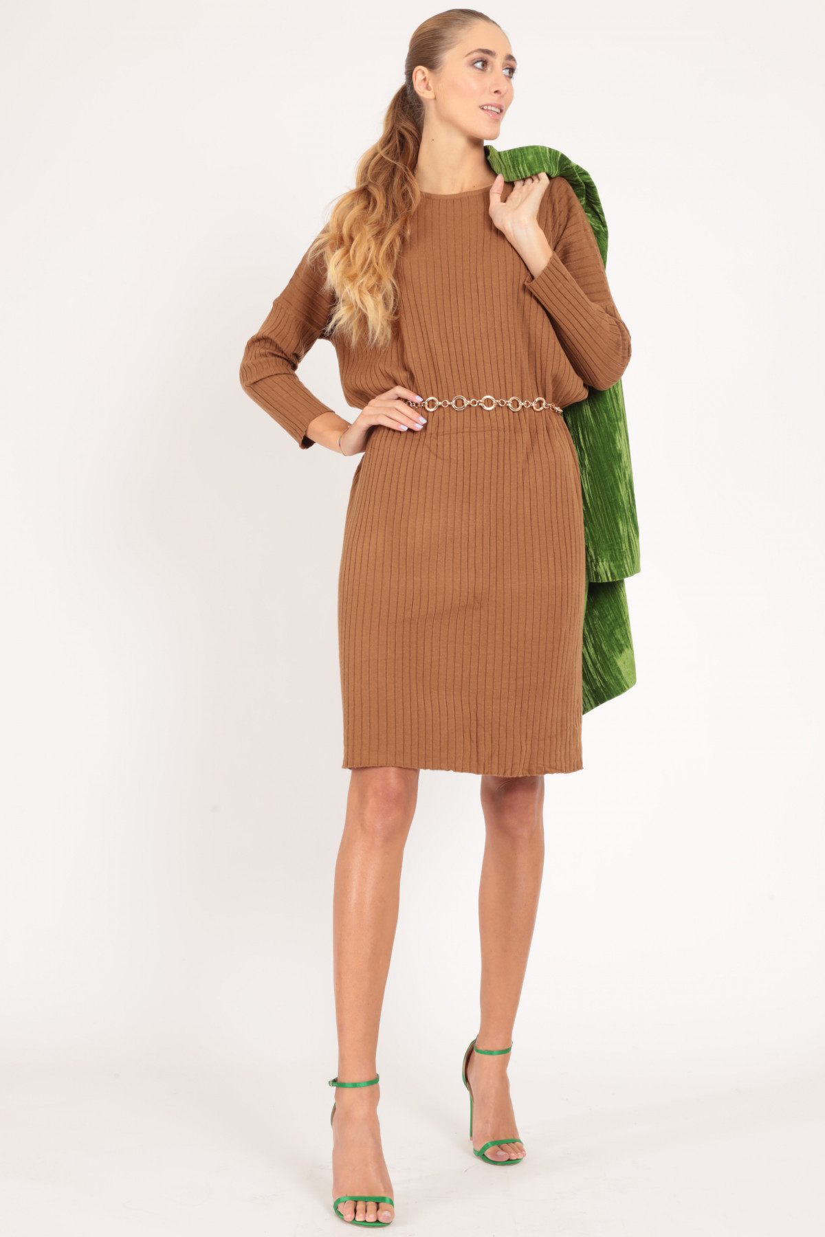 Long Sleeve Dress with Wide Ribs