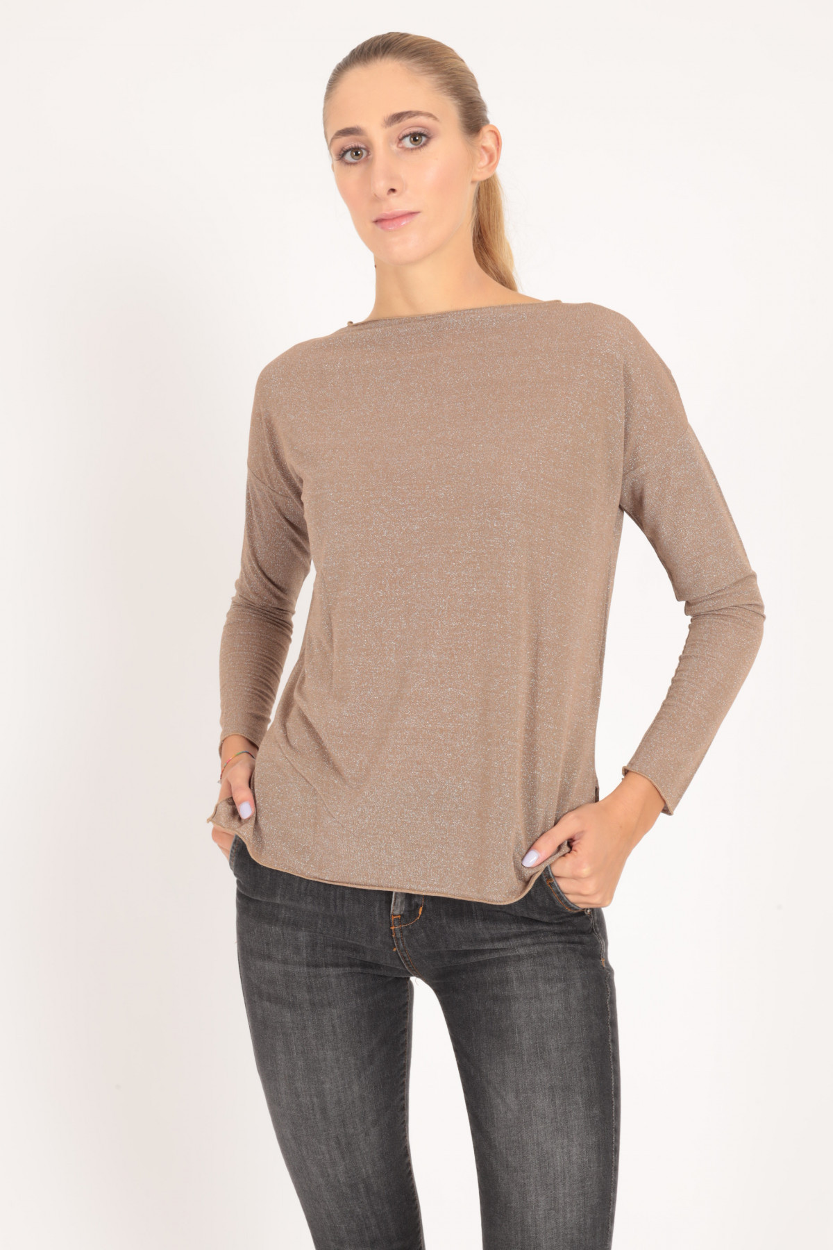 Long Sleeve Sweater with Boat Neck in Lurex
