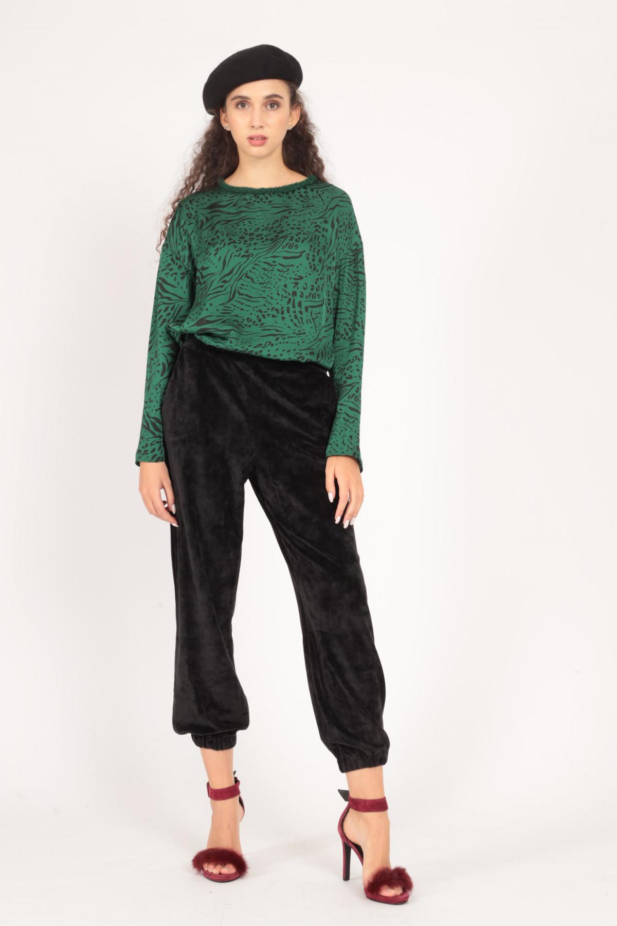 Velvet Effect Jogger Style Pants
