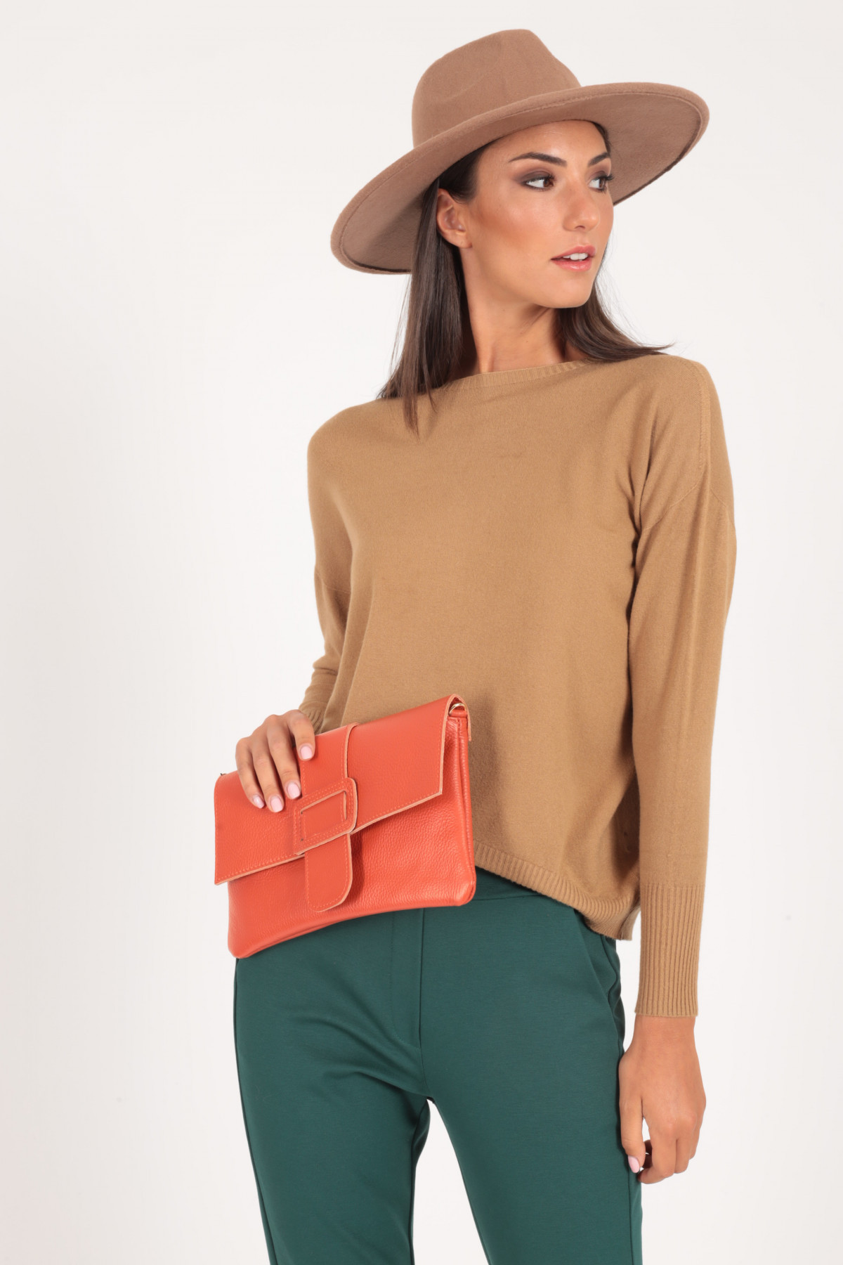 Hammered Leather Clutch Bag with Buckle Closure