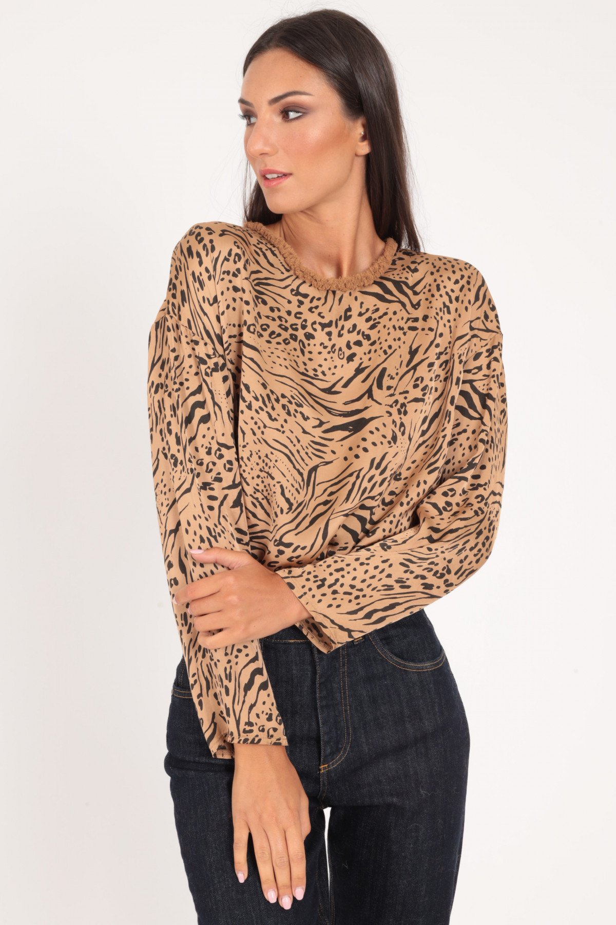Long Sleeve Blouse with Fringes in Animal Fantasy Prints