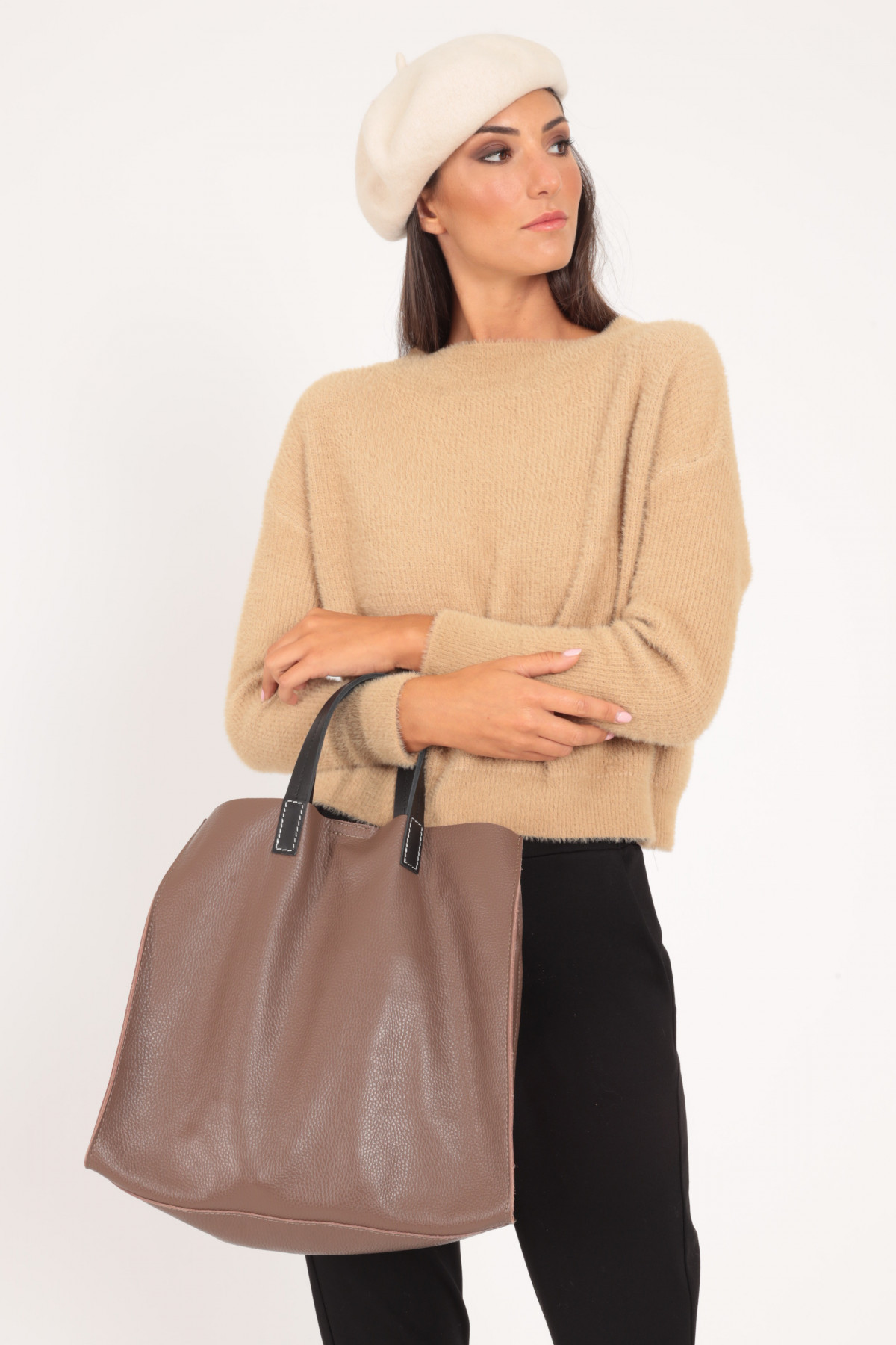 Leather Bag with Handles