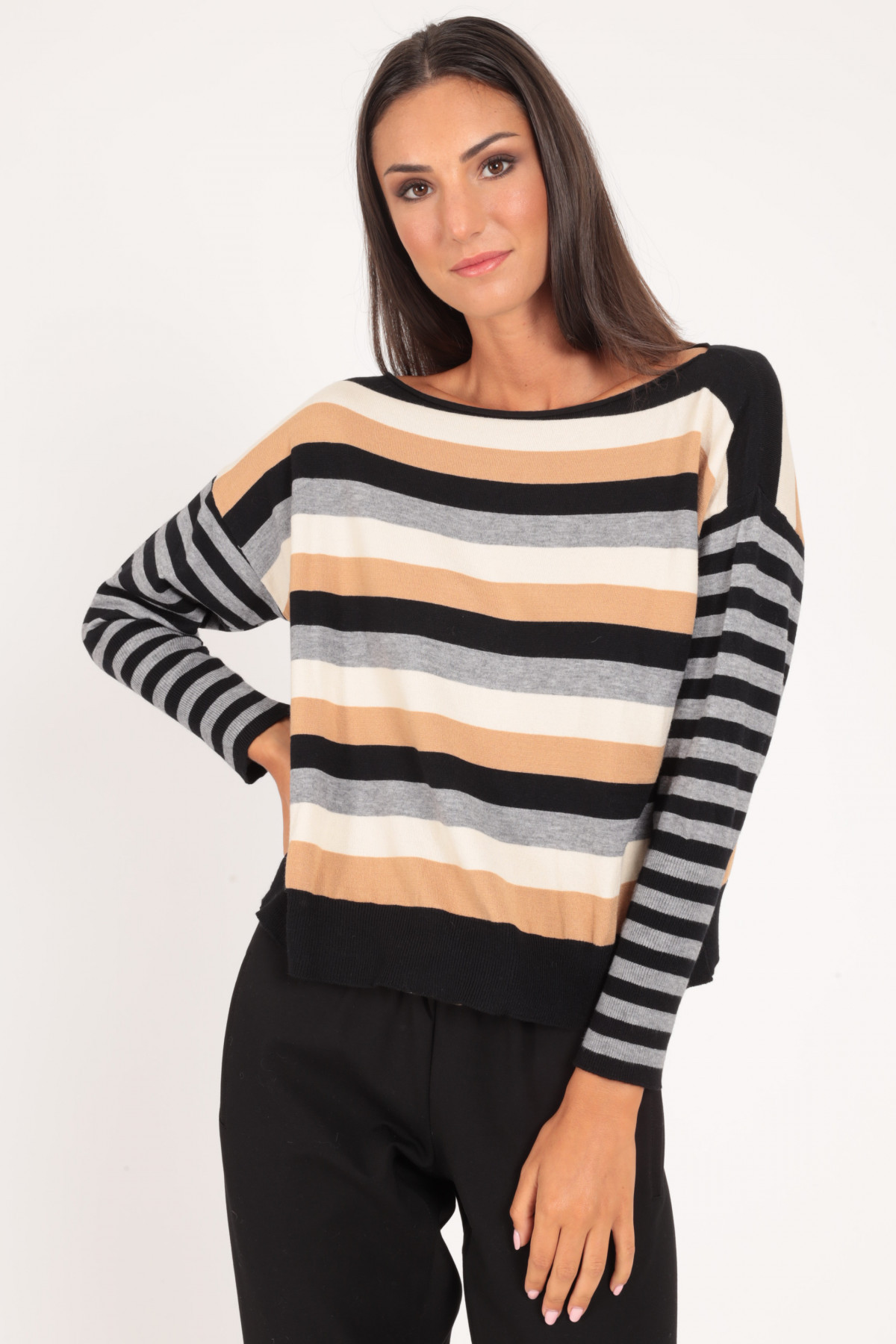 Boat Neck Pullover with Multicolor Stripes
