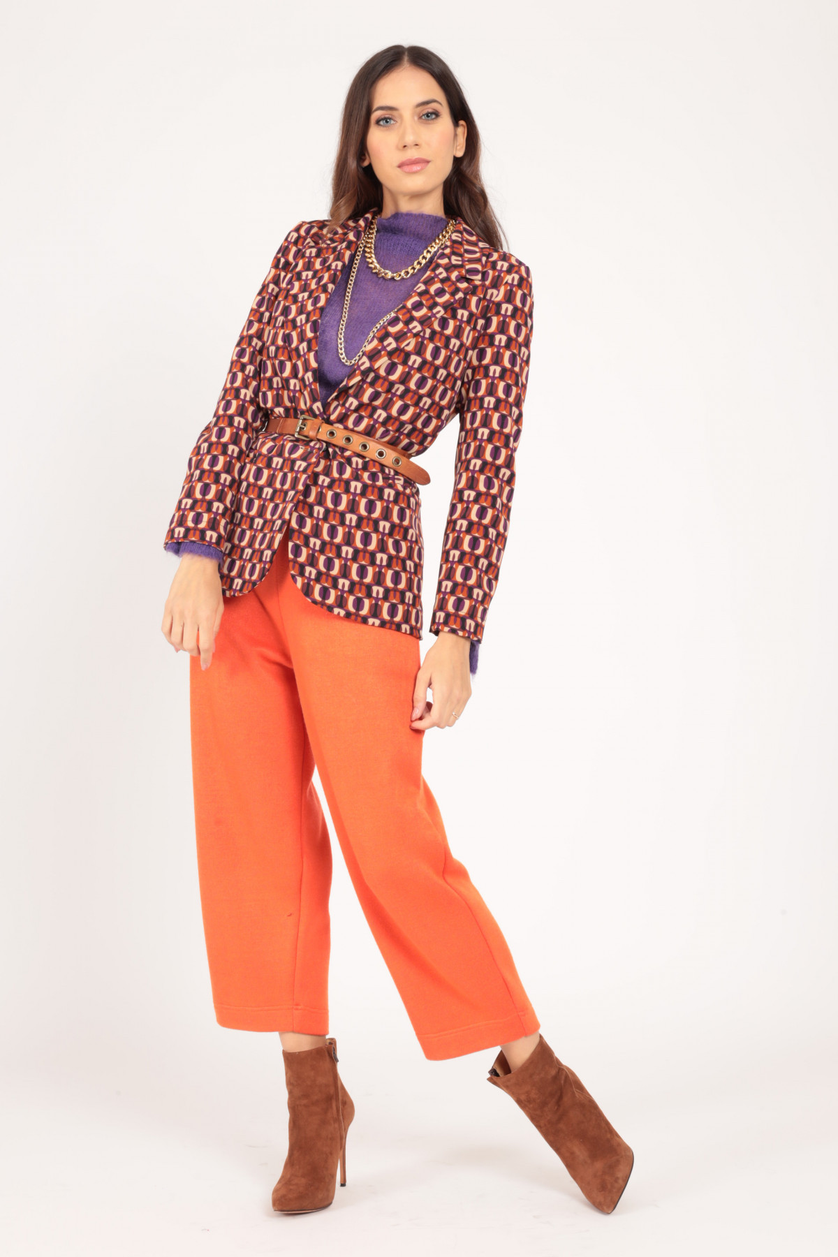 Jacket with Classic Revers in Optical Fantasy Print