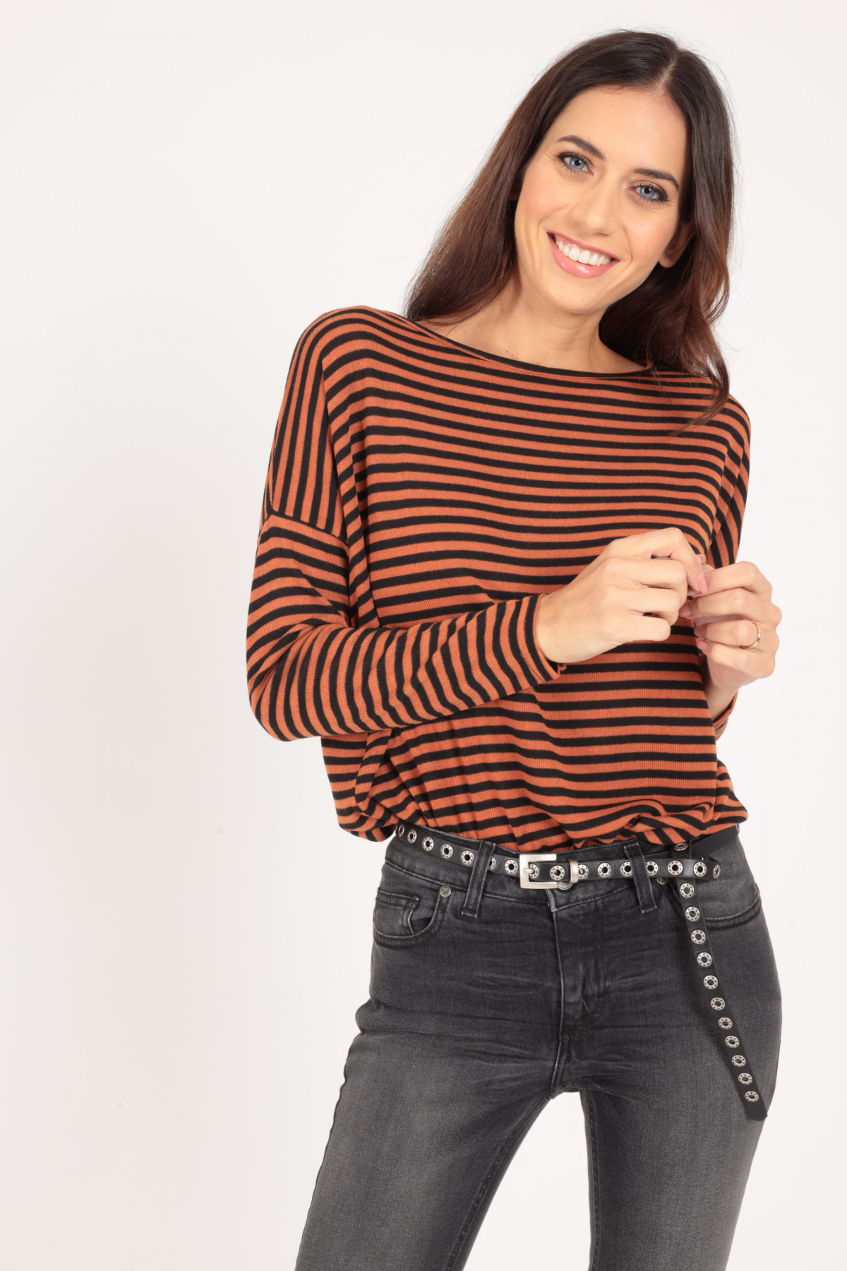 Striped Boat Neck and Drop Shoulder T-Shirt