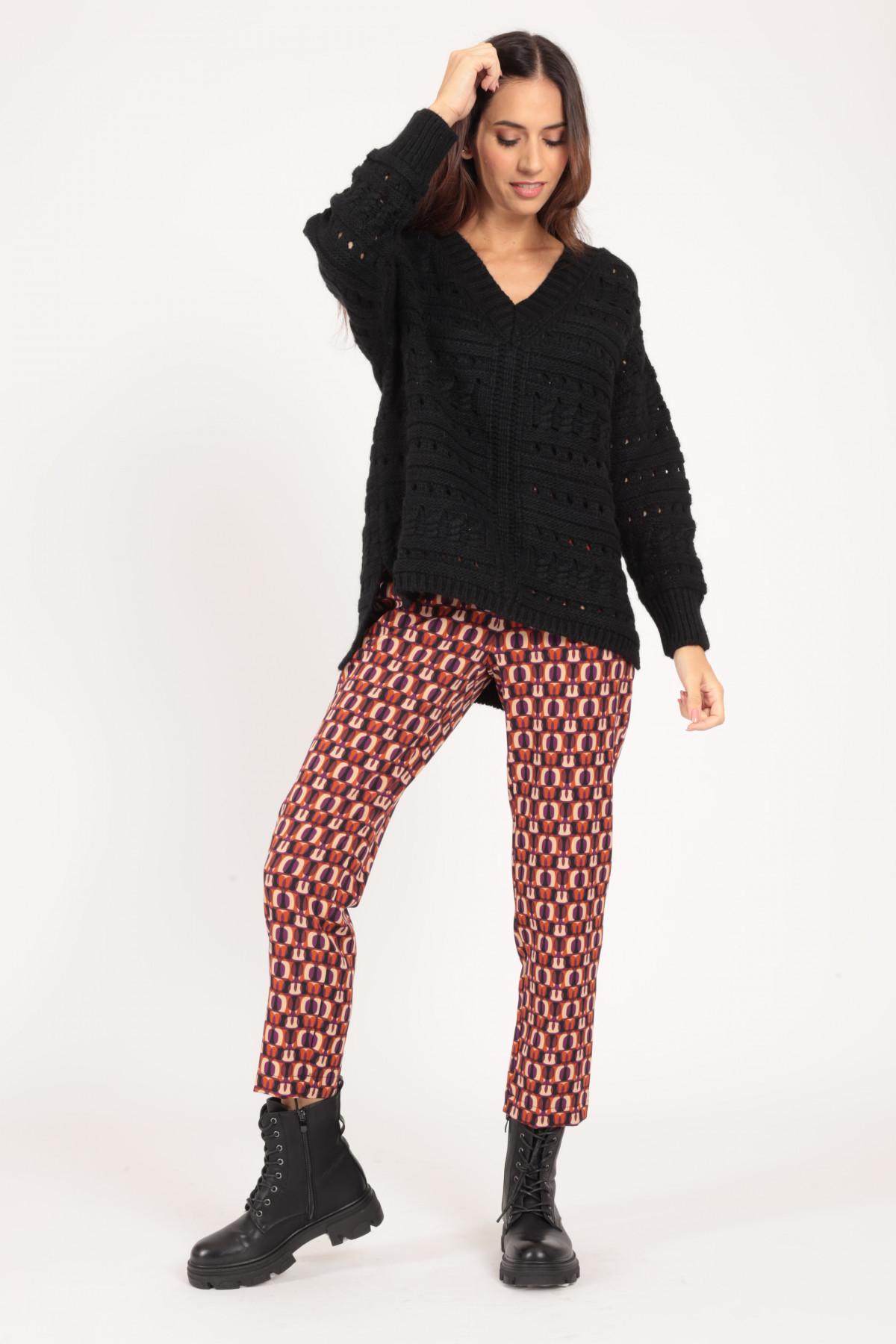 V-Neck Lasered Pullover