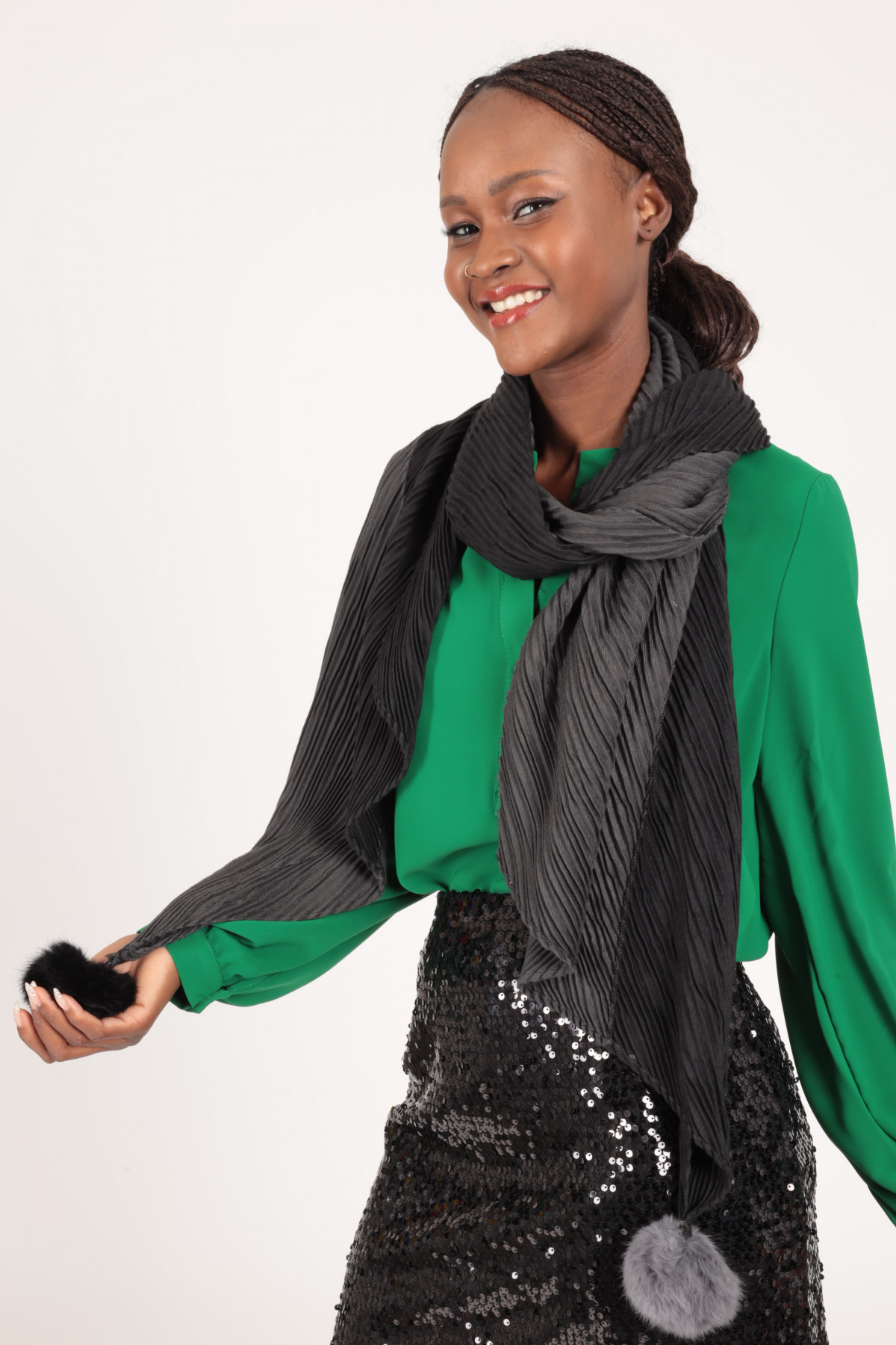 Bicolor Scarf with Pompon