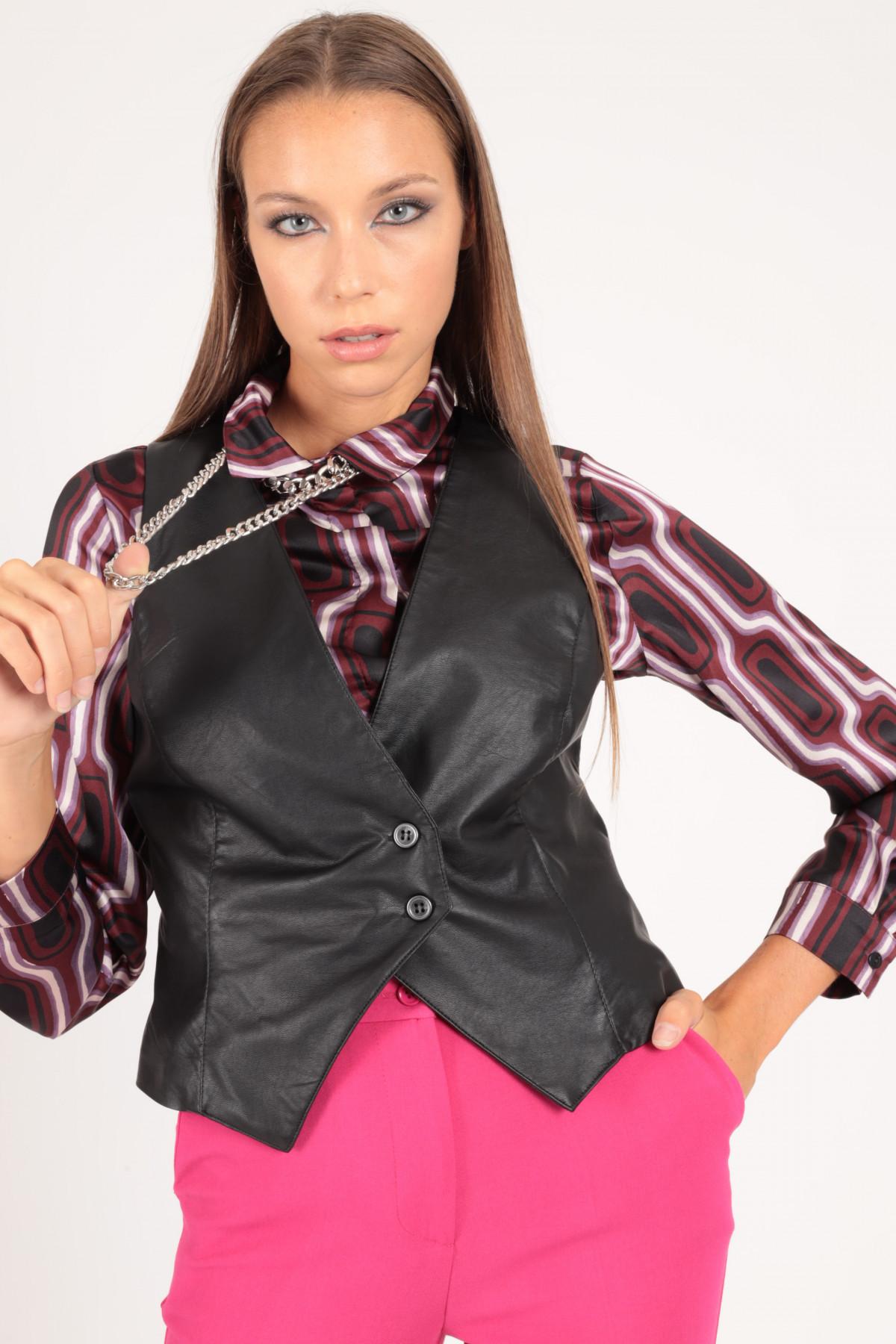 Two-Button Faux Leather Vest