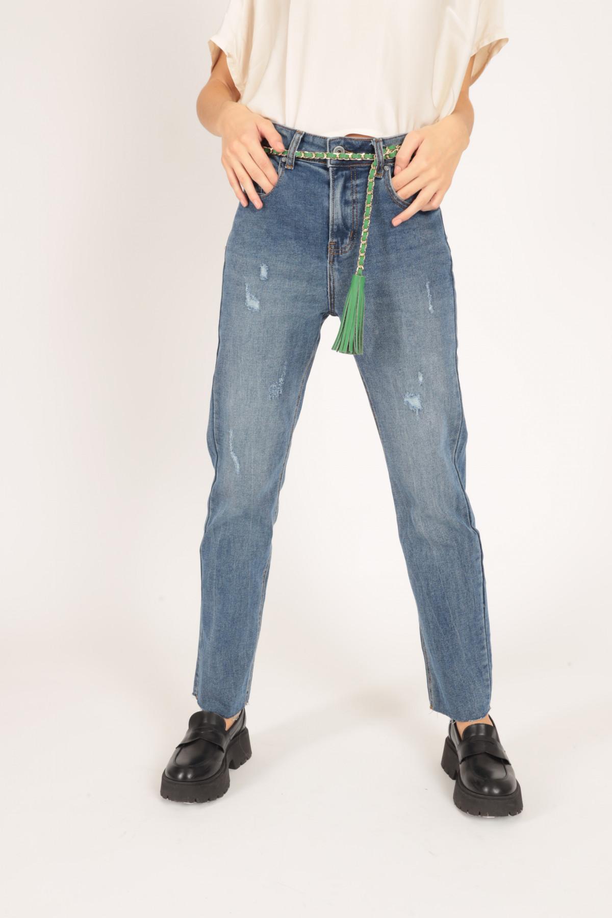 Jeans 5 Tasche a Sigaretta con Abrasioni
