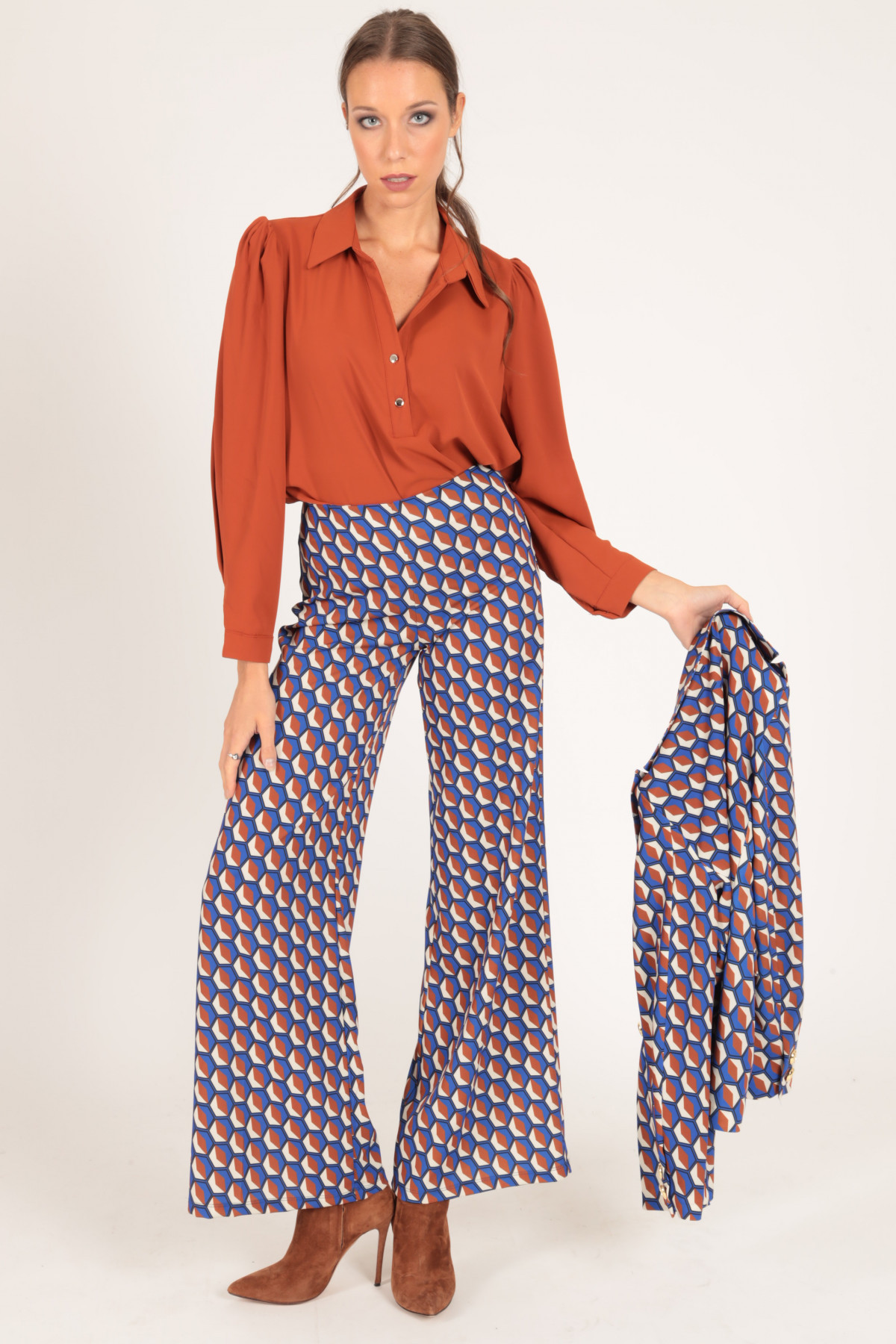 Pantaloni a Zampa in Stampa Fantasia Optical