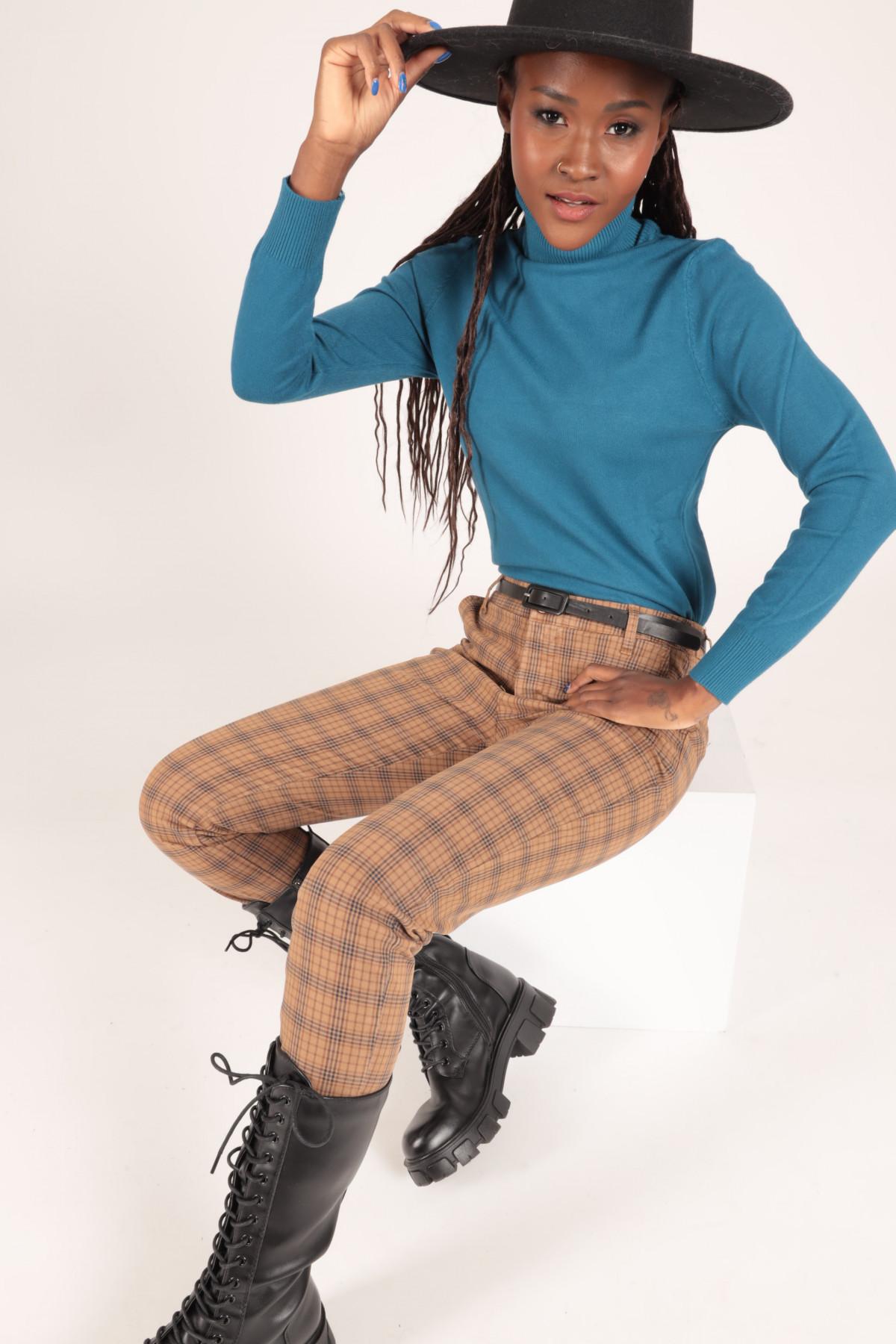 Pantaloni Tasca Chino in Stampa Fantasia Check