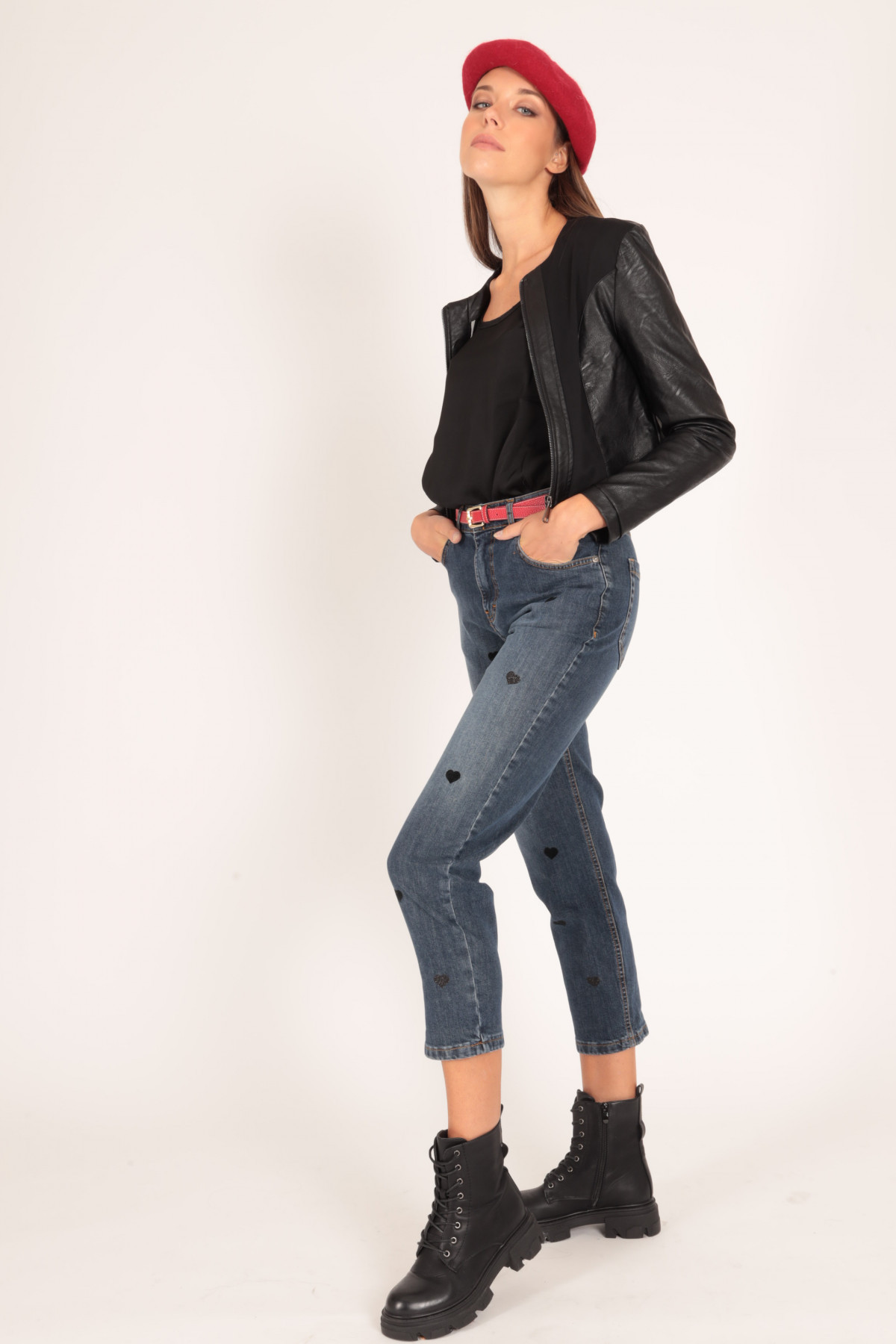 5 Pockets Jeans with Heart Flocked Applications