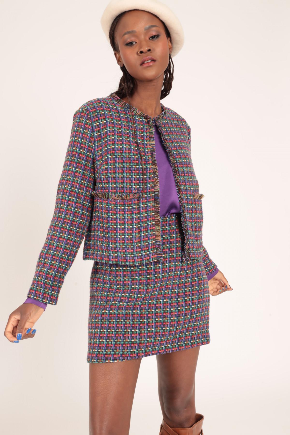 Minigonna in Tweed Sfrangiata
