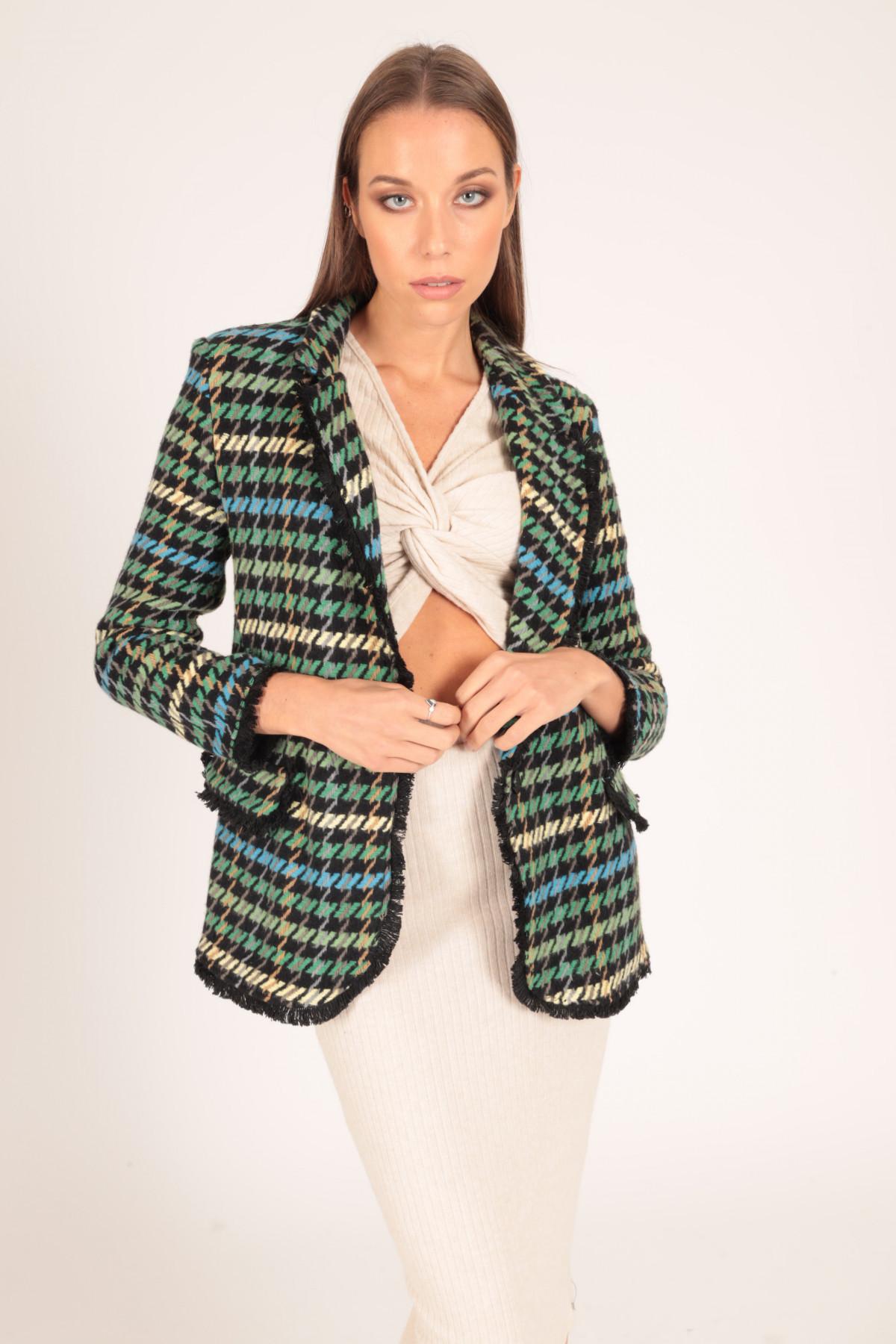 Fringed Tweed Jacket in Multicolor Pied de Poule