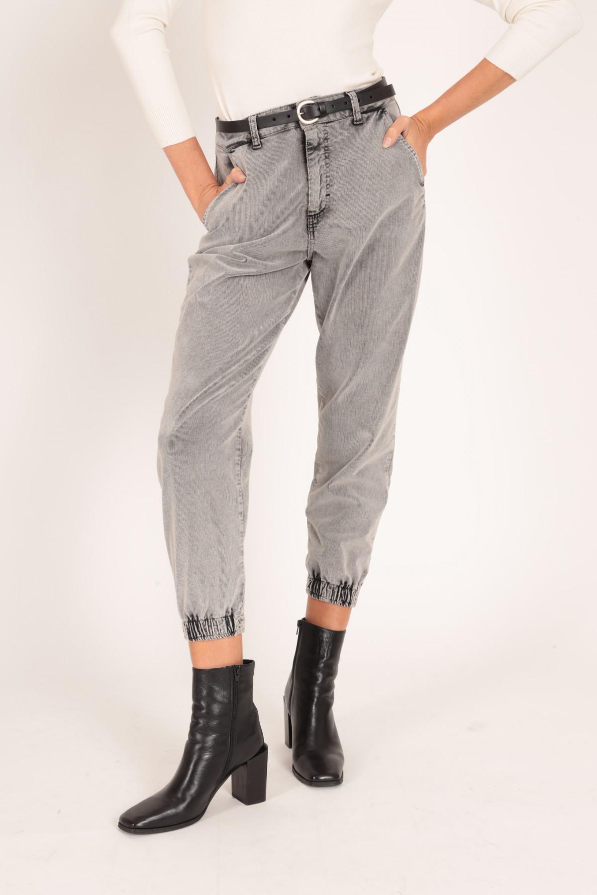 Pantaloni Marmorizzati a Costine con Elastico sul Fondo