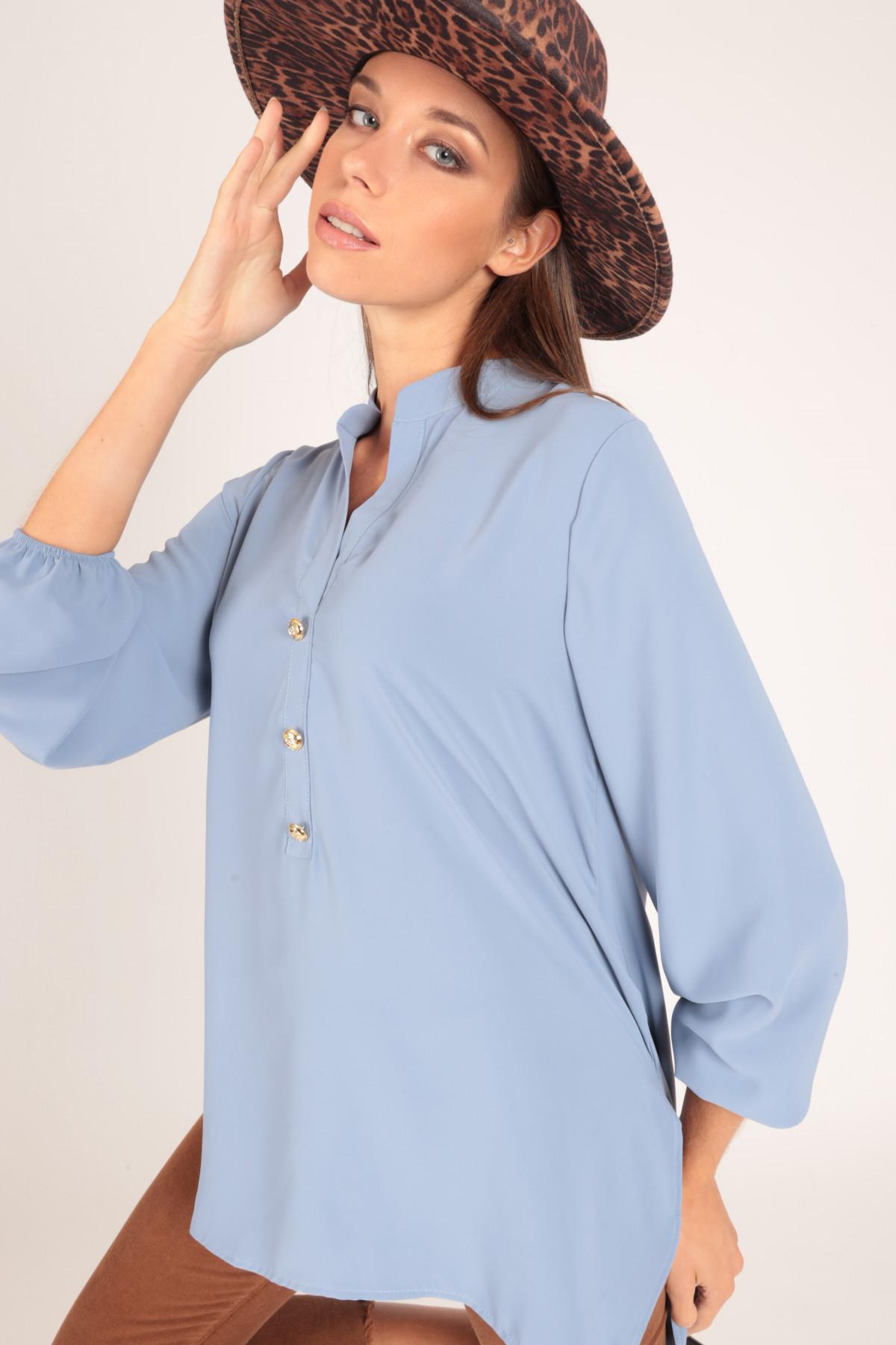 Camicia Lunga con Collo alla Coreana