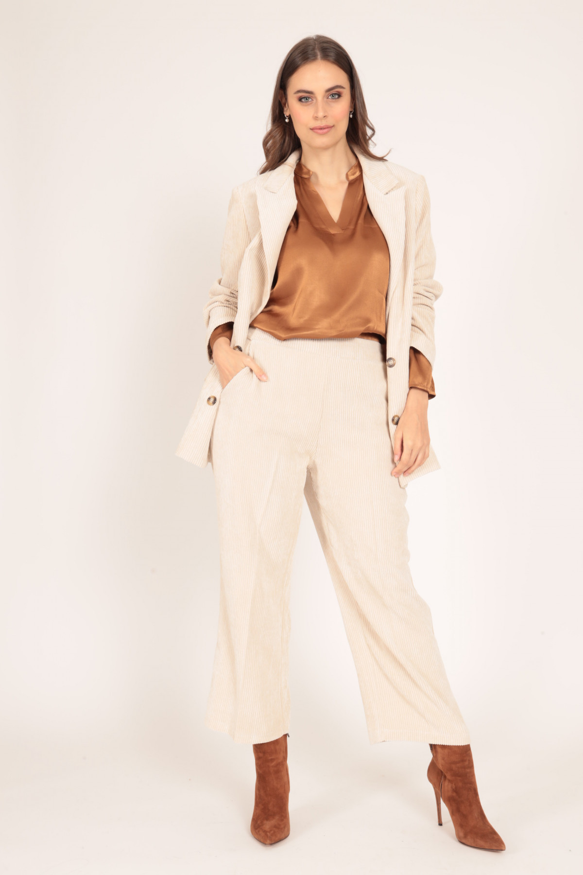 Palazzo Trousers in Velvet Ribbed
