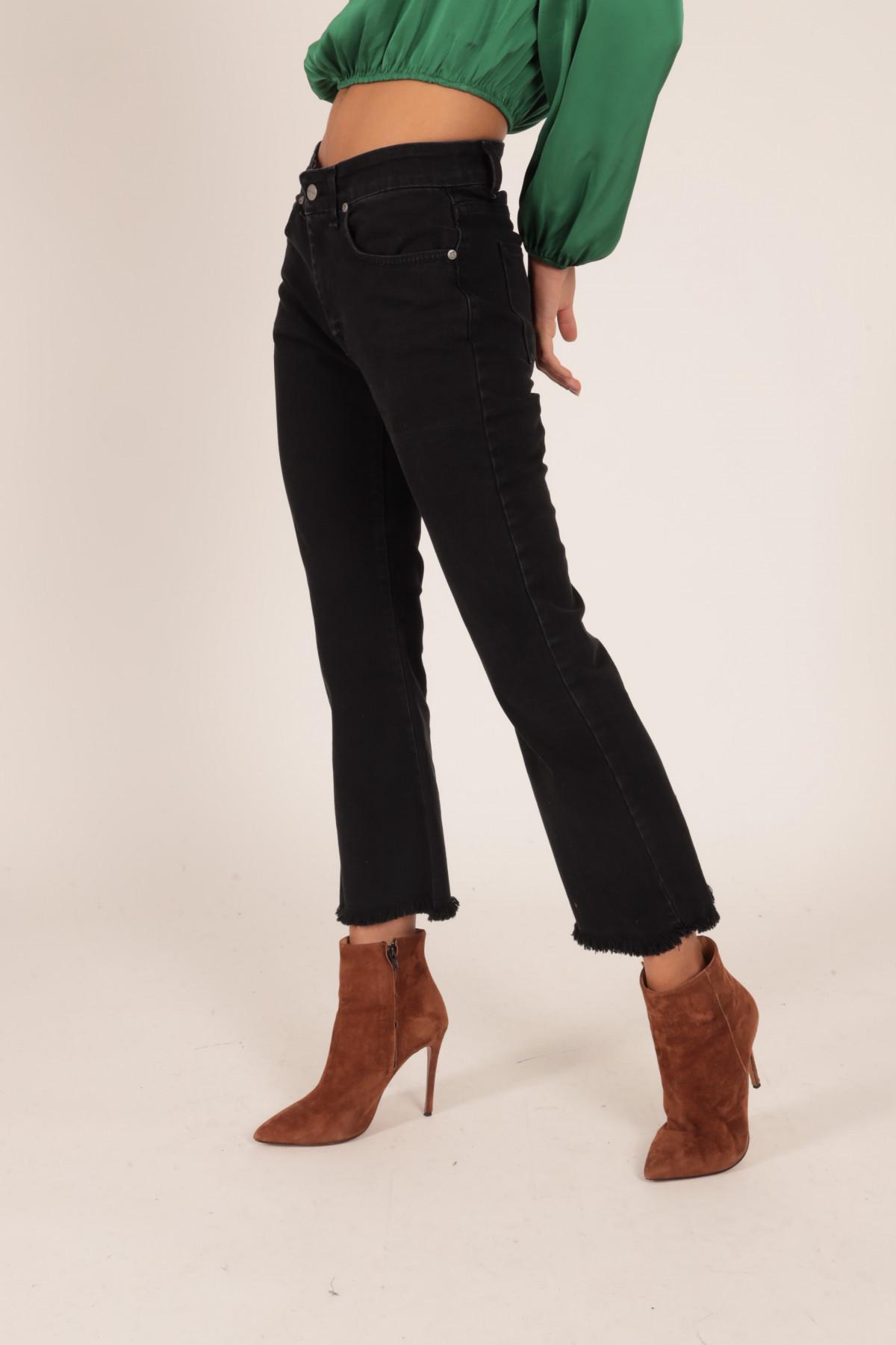 Jeans 5 Tasche a Trombetta con Fondo Sfrangiato