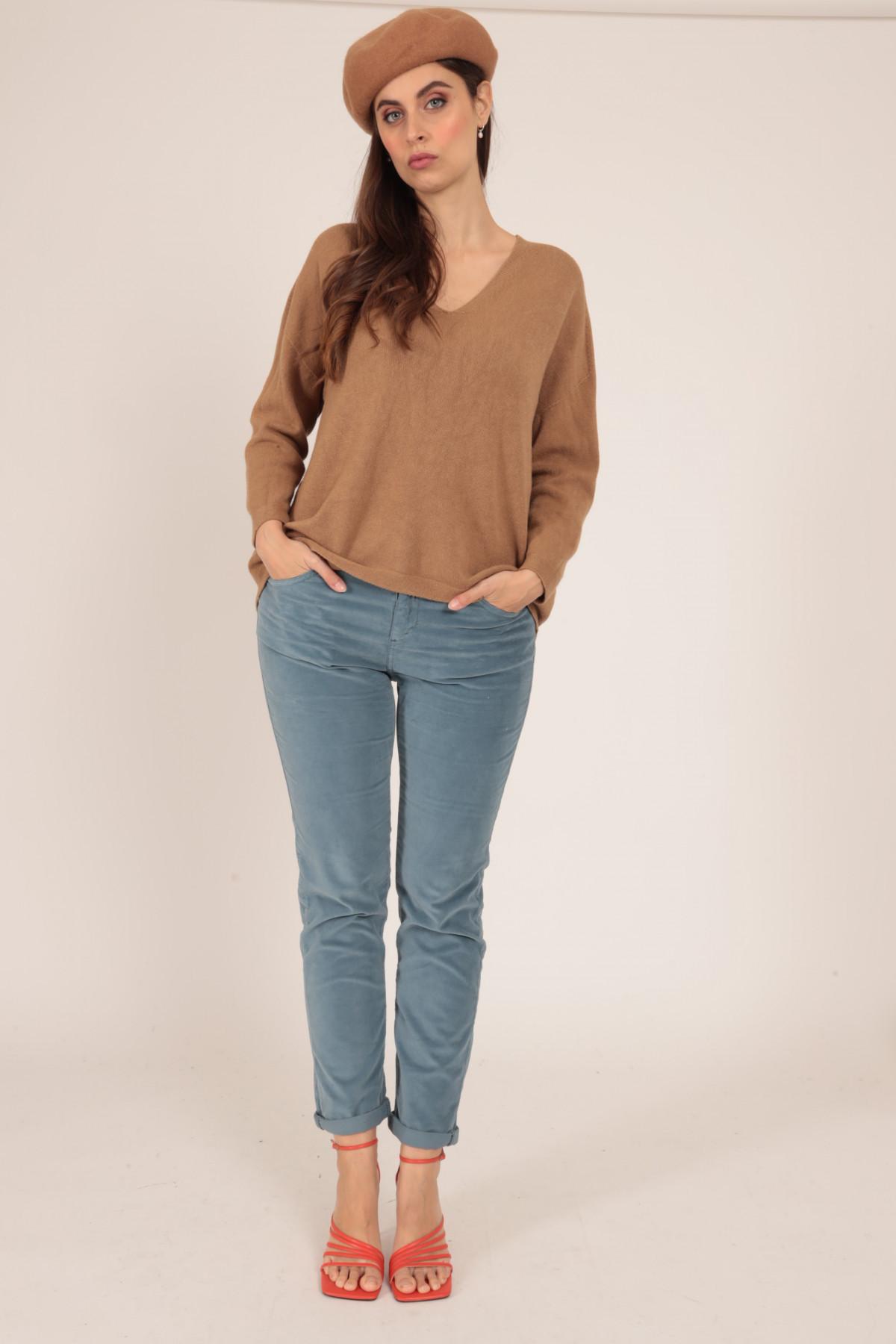 Pantaloni Regular 5 Tasche in Velluto