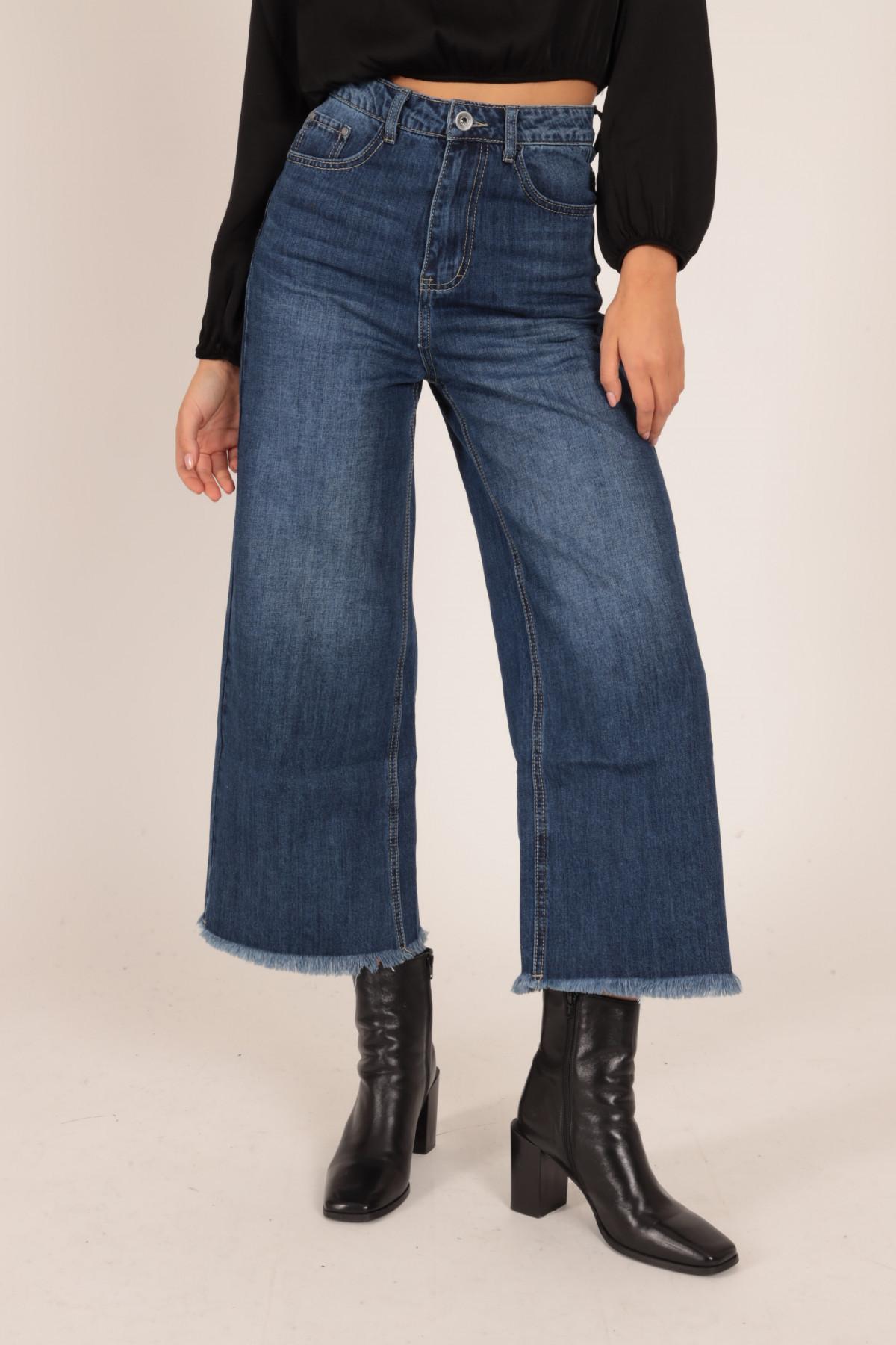 Jeans a Palazzo Cropped Fondo Sfrangiato