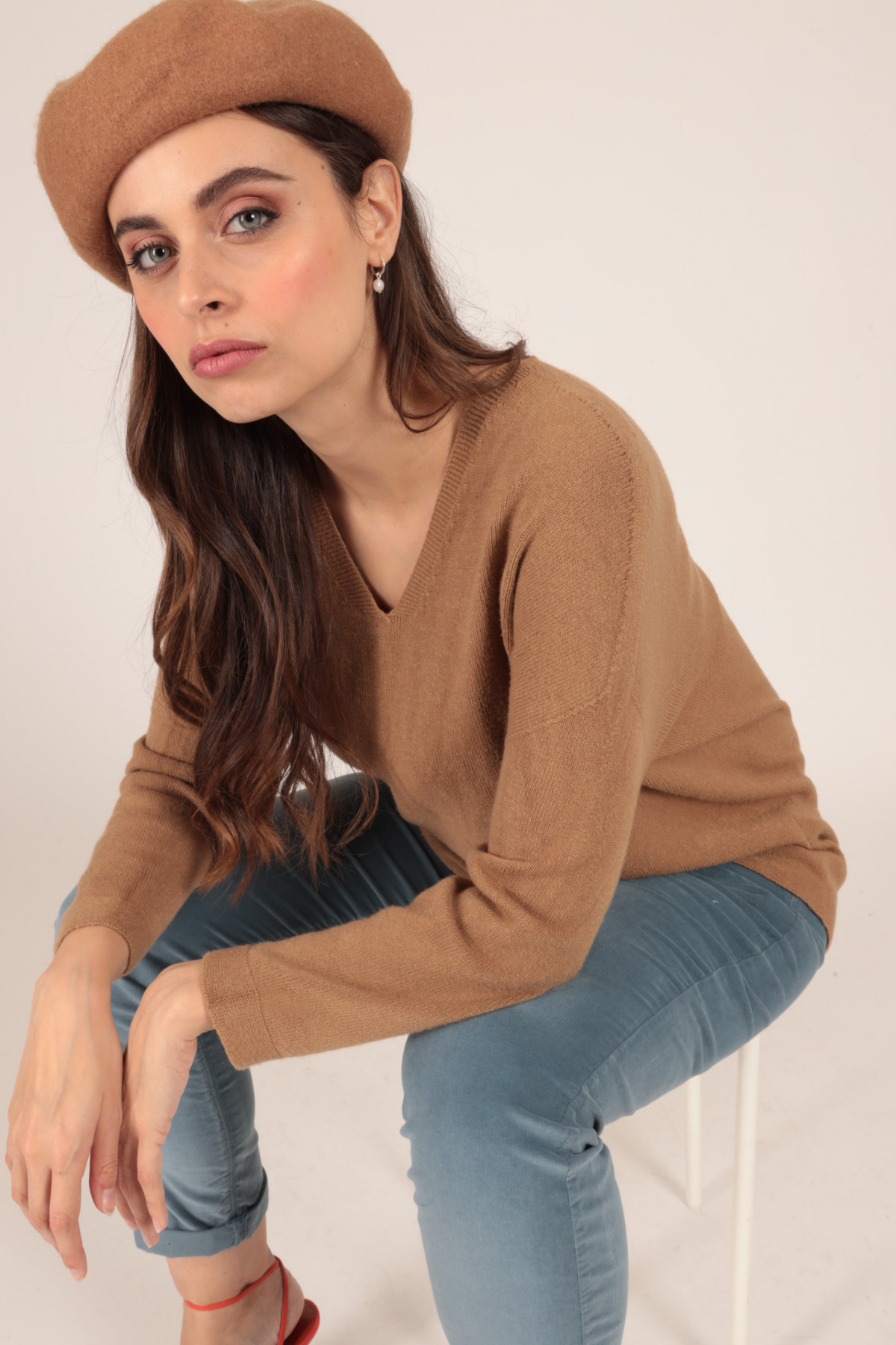 Long Sleeve Pullover with Wide V-Neck