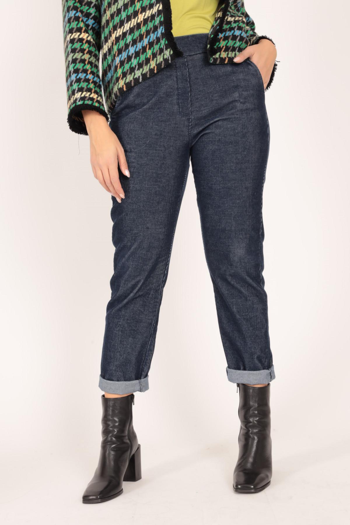 Pantaloni Vita Alta a Costine Sottili