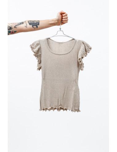 T-Shirt Con Maniche Arricciate Lurex